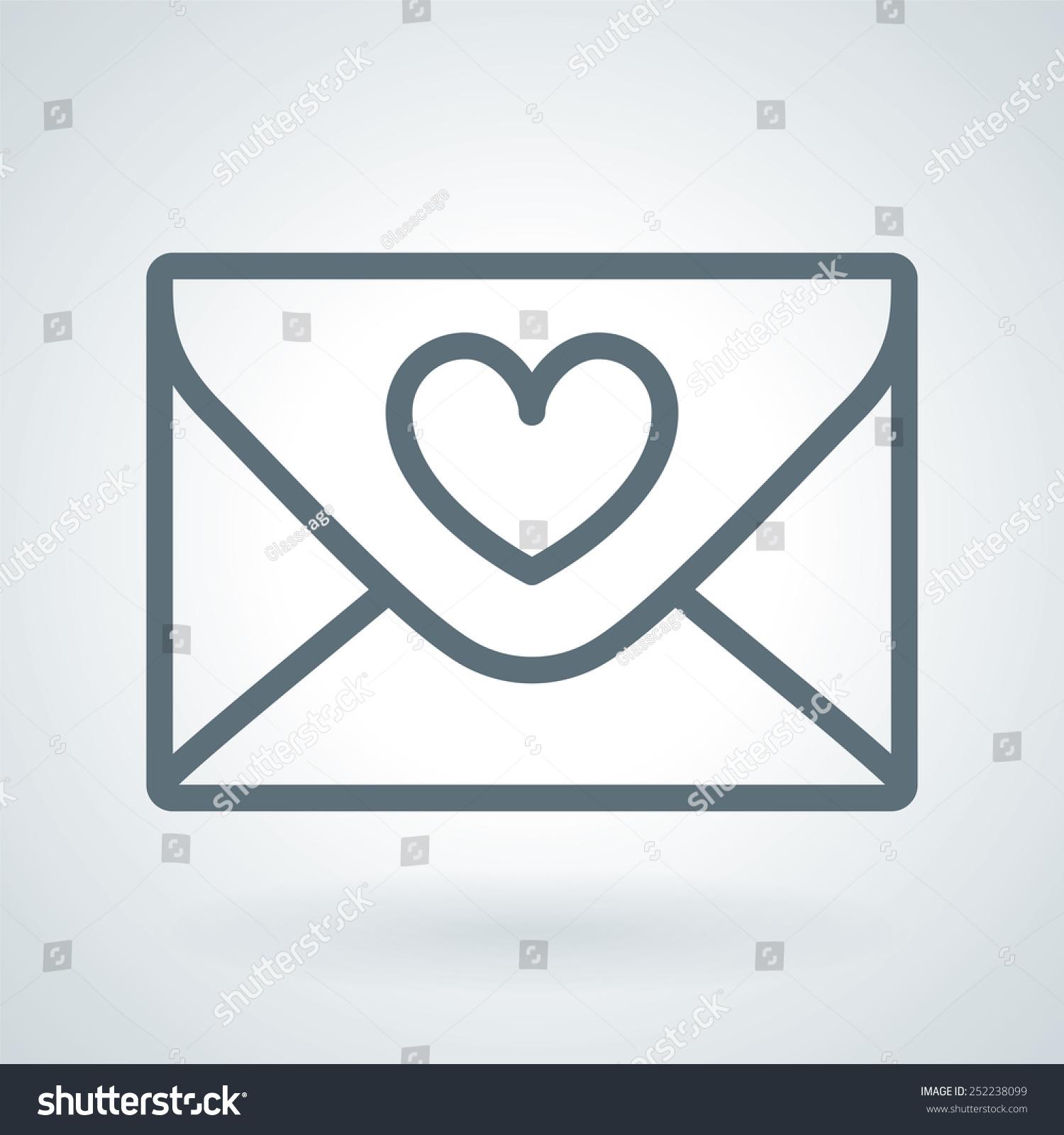 Love Letter Wedding Invitation Line Icon Stock Vector Royalty Free