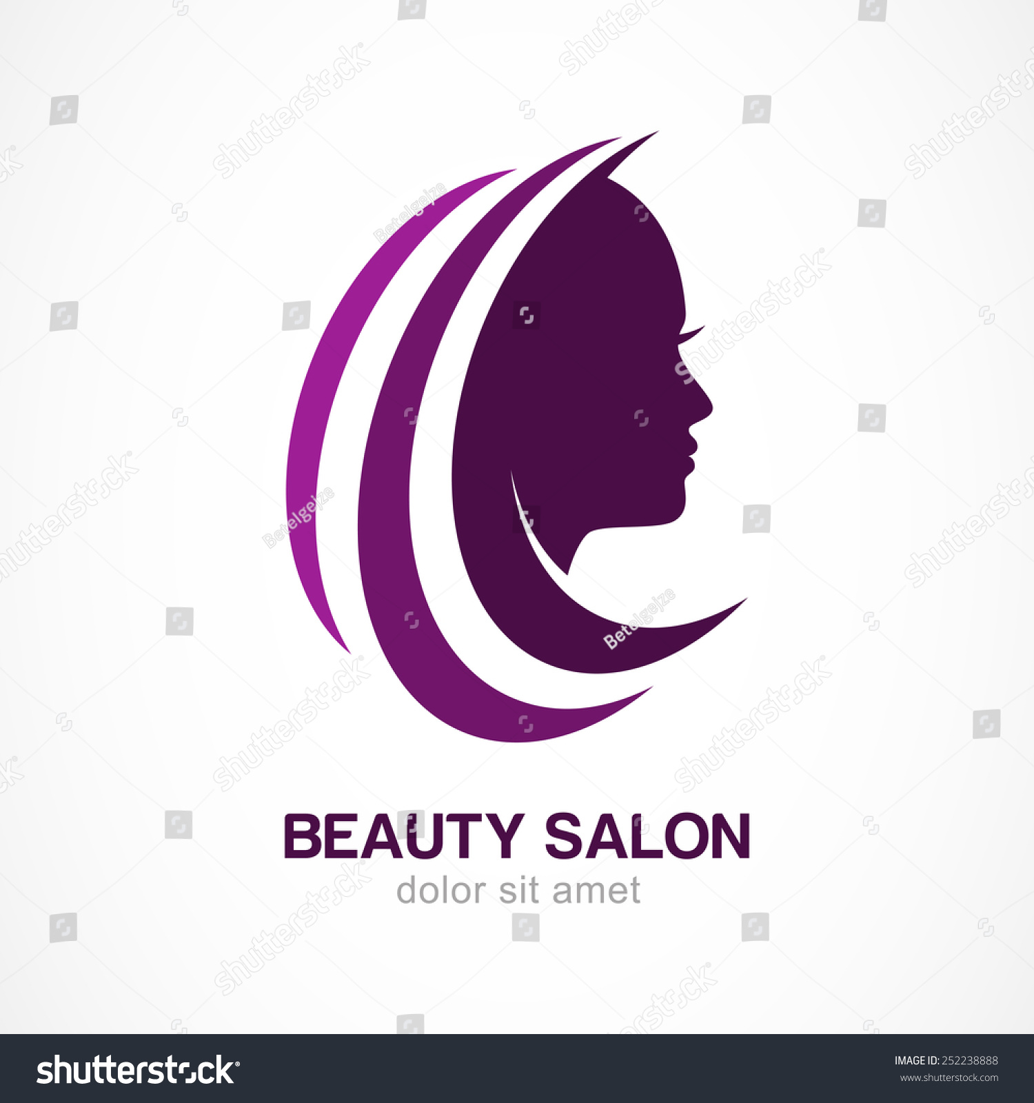 Vector logo design template womans face stock vector for Abstract beauty salon