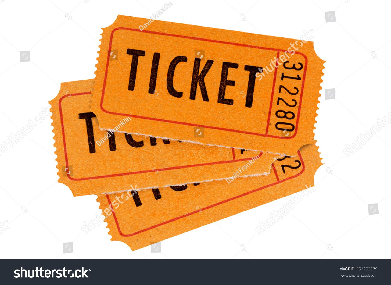 raffle ticket fan shape stack three stock photo  raffle ticket fan shape stack of three orange raffle or movie tickets isolated on white