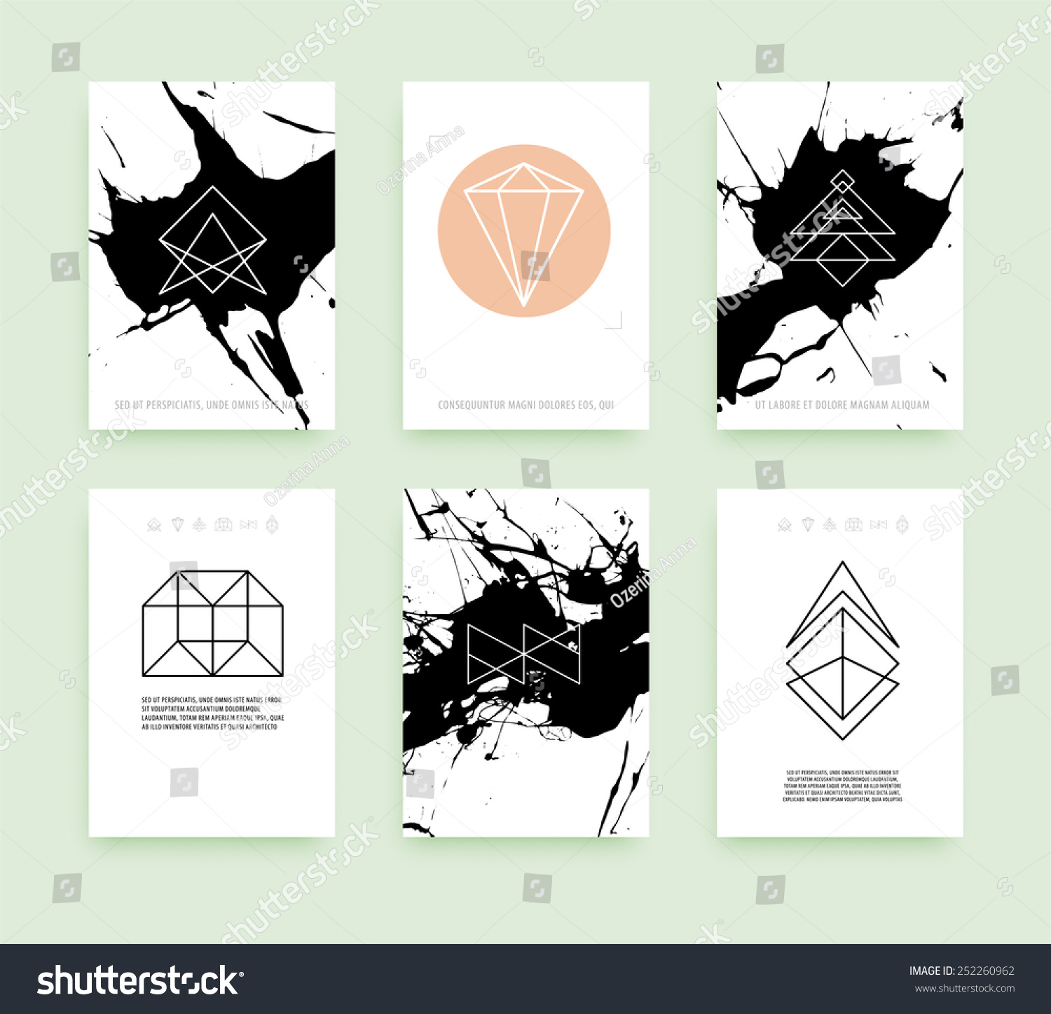 Set of business card templates line geometric hipster for Queue cards template