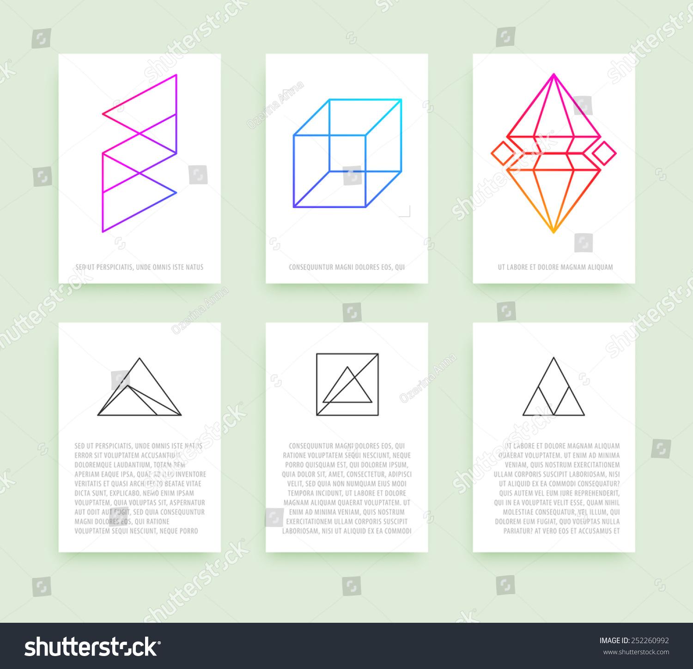 Set Business Card Templates Line Geometric Stock Vector 252260992 ...