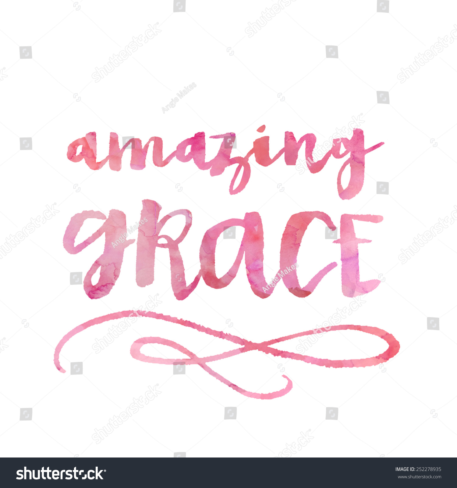 Hand Lettering Inspirational Quote Amazing Grace Stock