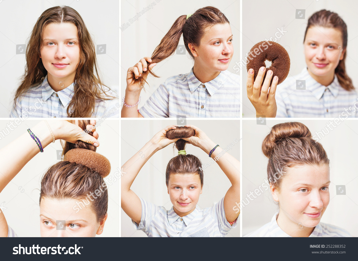 Hairstyle Tutorial By Beauty Blogger Vintage Stock Photo Edit Now