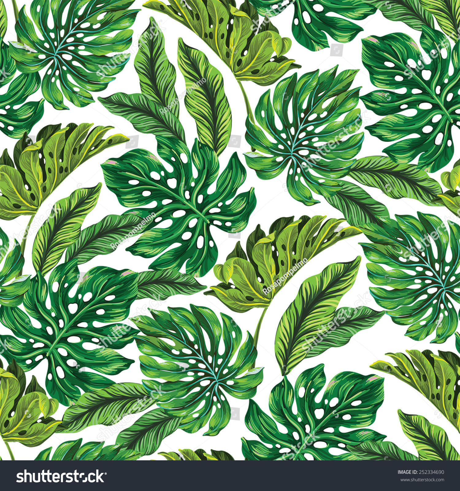 Vector Seamless Tropical Leaves Pattern Strong Stock