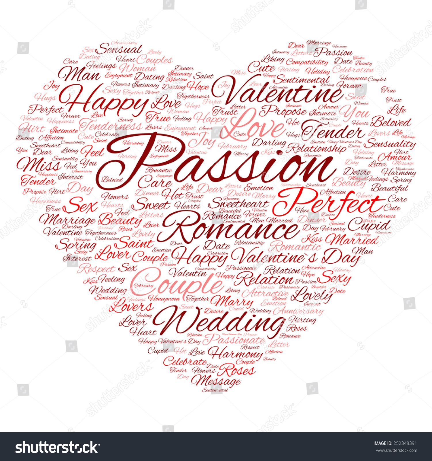 Concept Or Conceptual Red Wordcloud Text In Shape Of Heart Symbol
