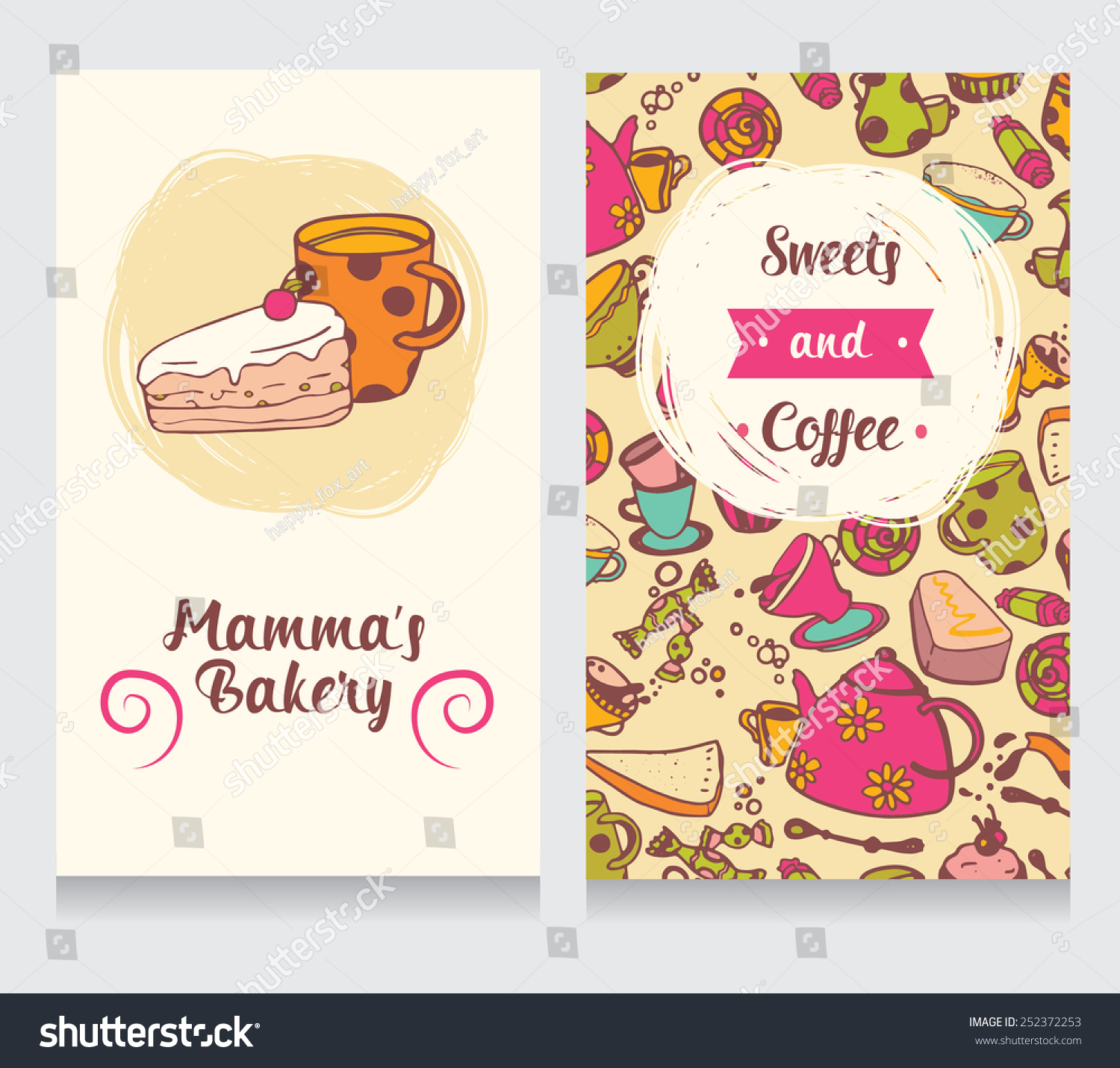 Cute Funny Business Card Bakery Vector Stock Vector 252372253 ...