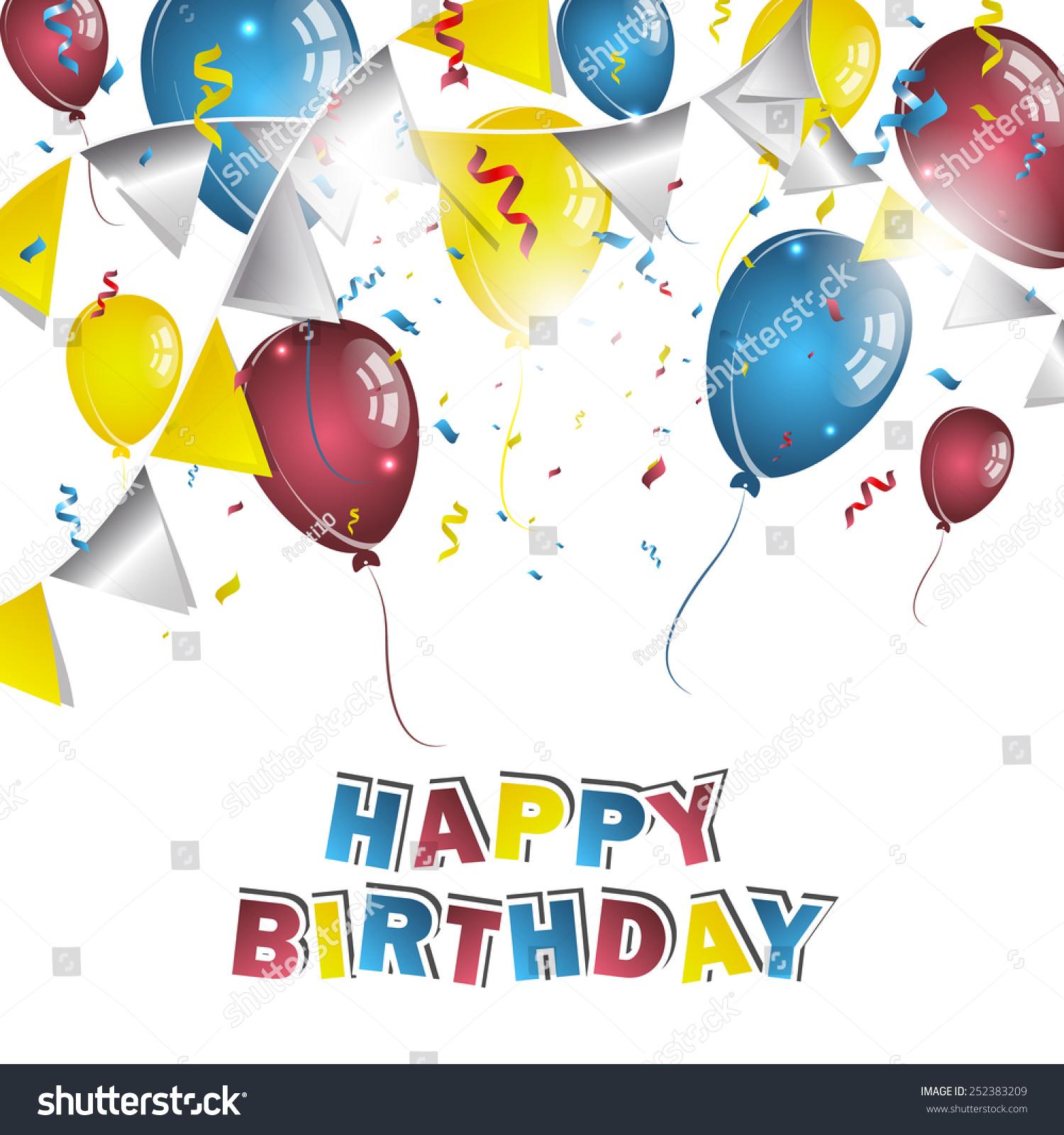 Happy Birthday Greeting Card Confetti Balloons Stock Vector Royalty
