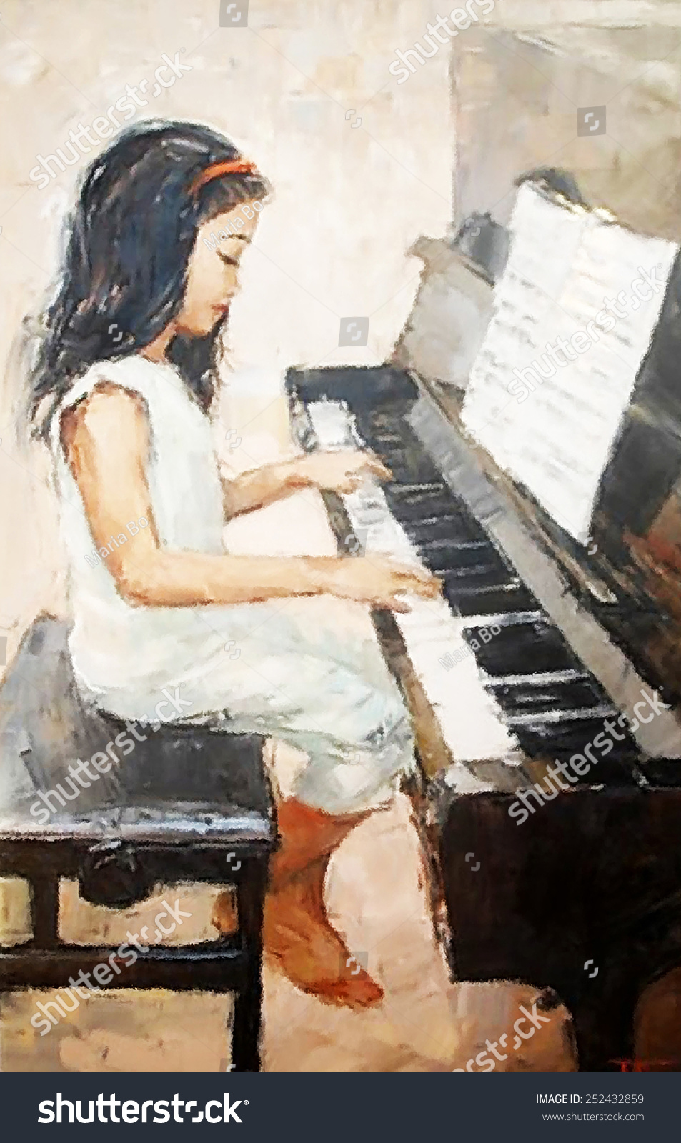 Oil Painting Cute Little Girl That Plays The Piano Stock ...