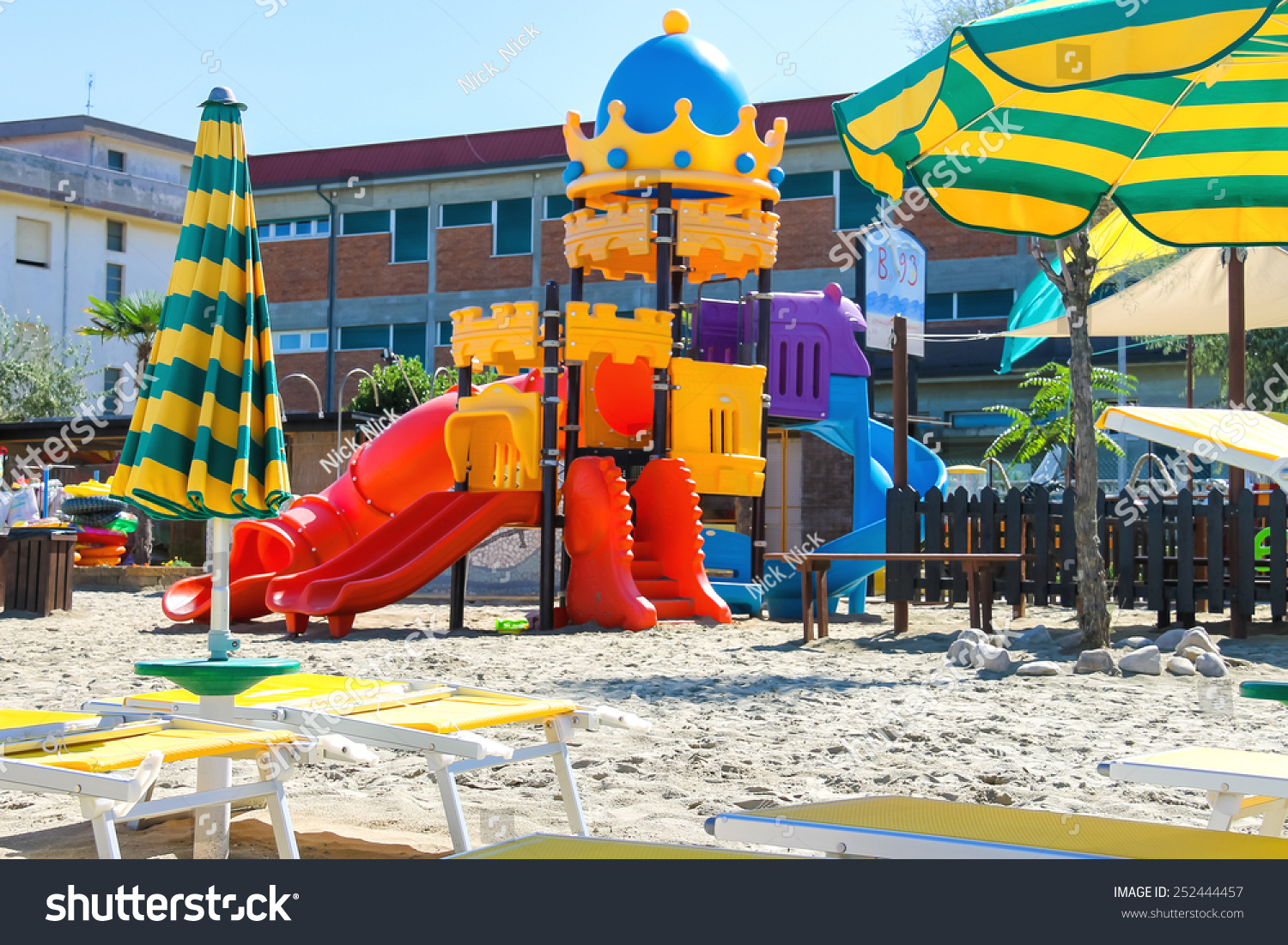 Childrens Playground Beach Chairs Umbrellas On Stock Photo Edit Now 252444457