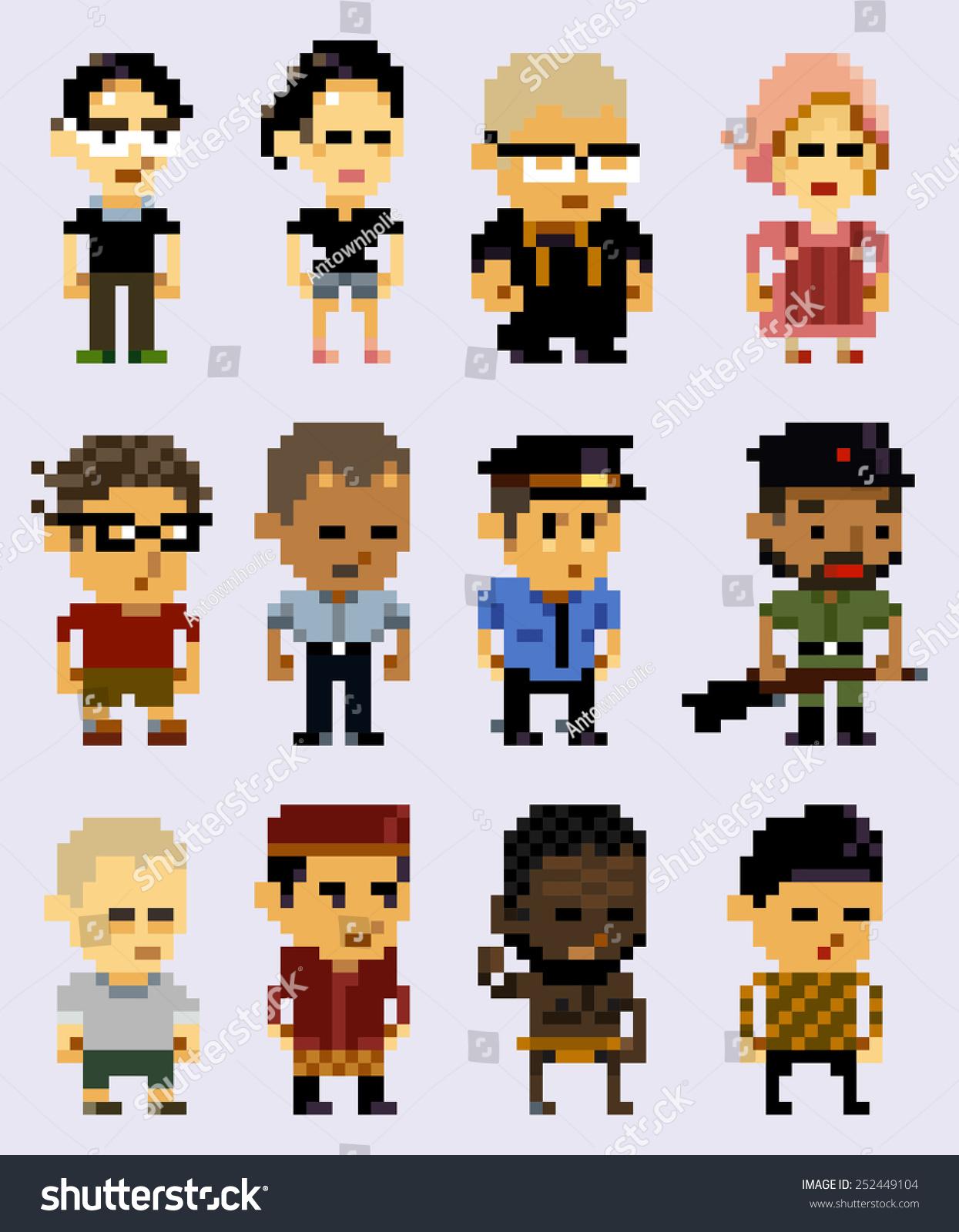 Pixel Character Design Tutorial : Pixel art character design stock vector