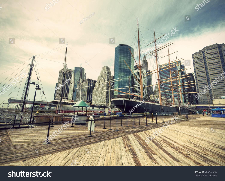 24c4047c9f0 Pier South Street Seaport Manhattan Skyline Stock Photo (Edit Now ...