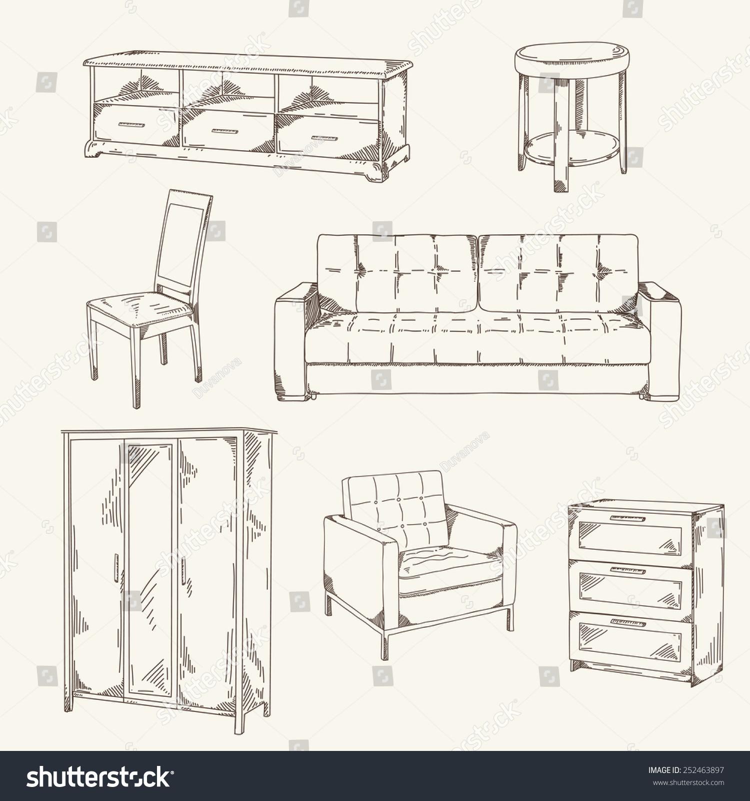Set Hand Drawn Furniture Sofa Table Stock Vector