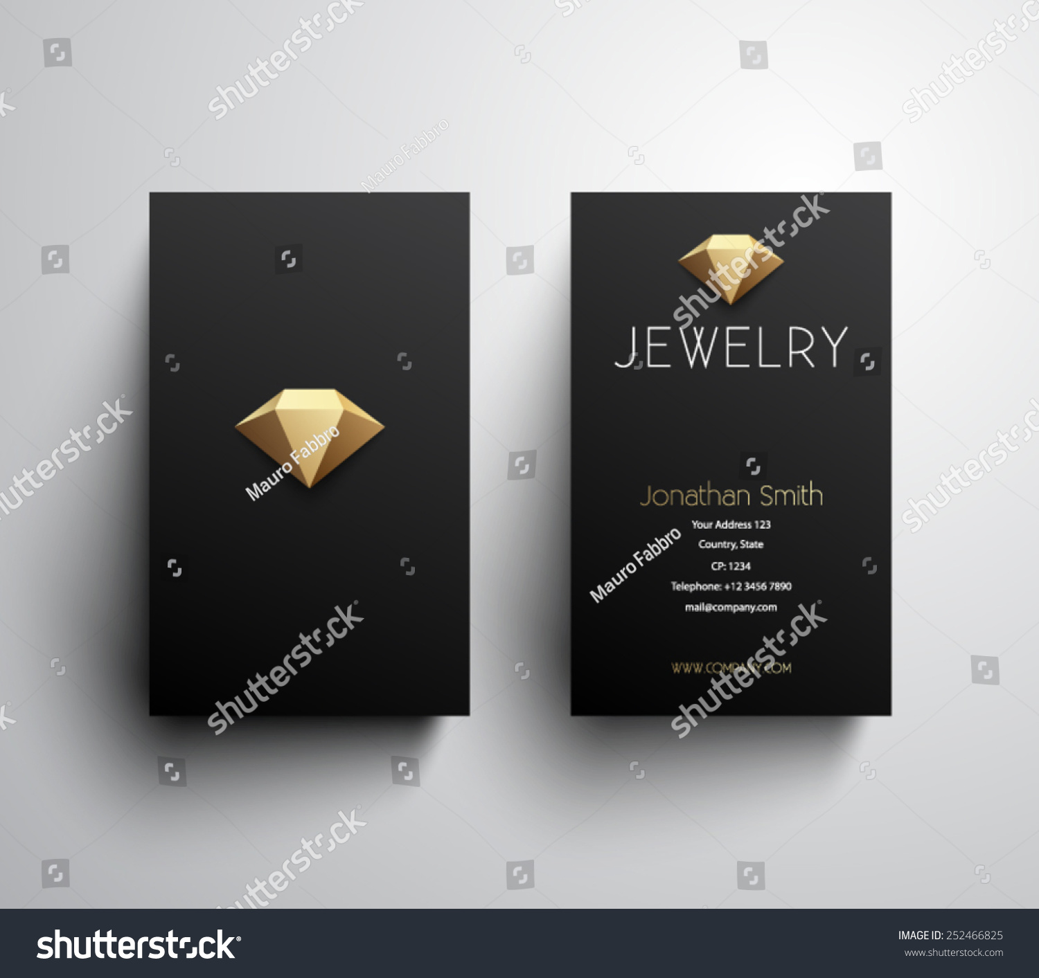 Royalty free abstract jewelry business card template 252466825 abstract jewelry business card template clean and modern style design logo logotype friedricerecipe Images