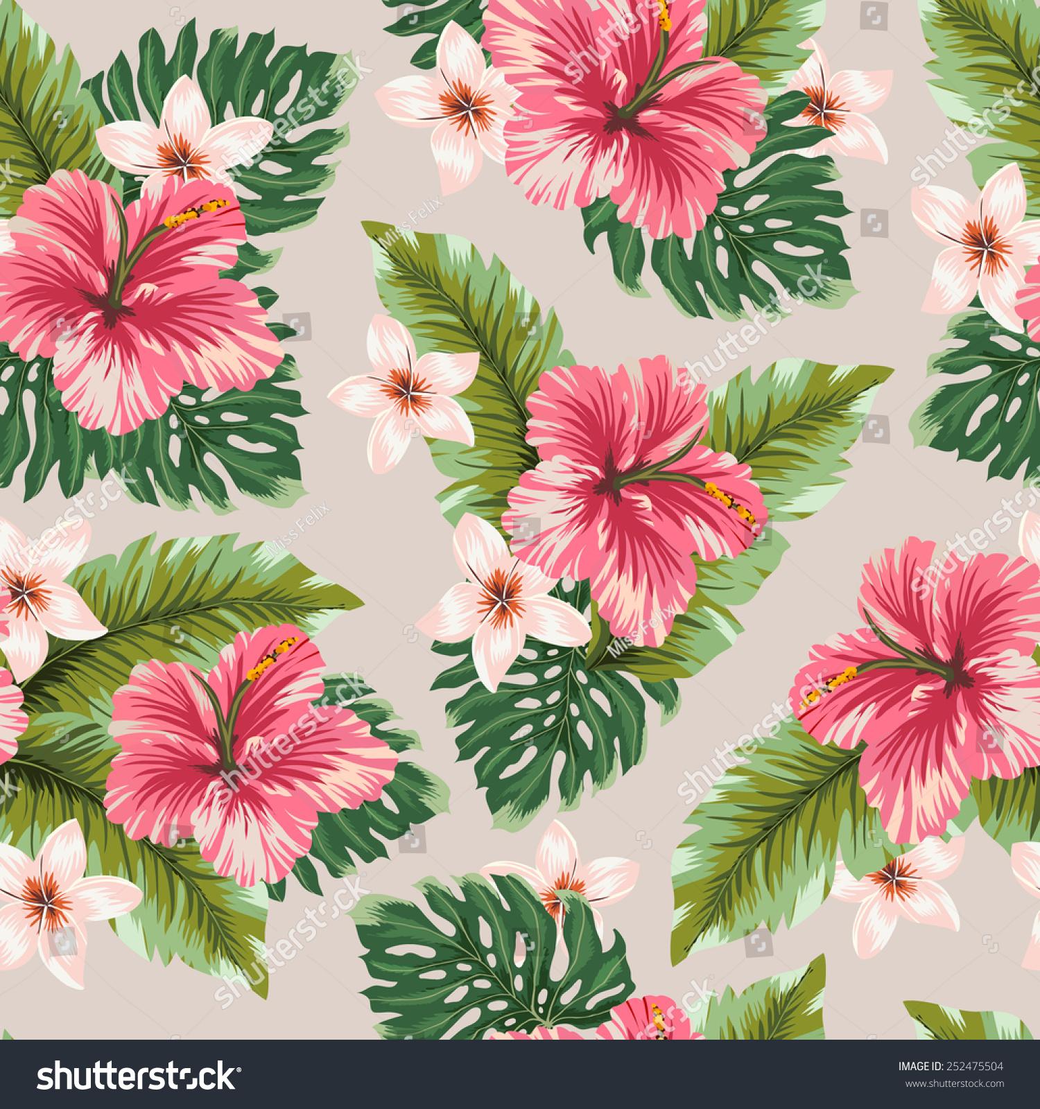 Amazing Seamless Hawaiian Flowers Vector Pattern Stock Vector
