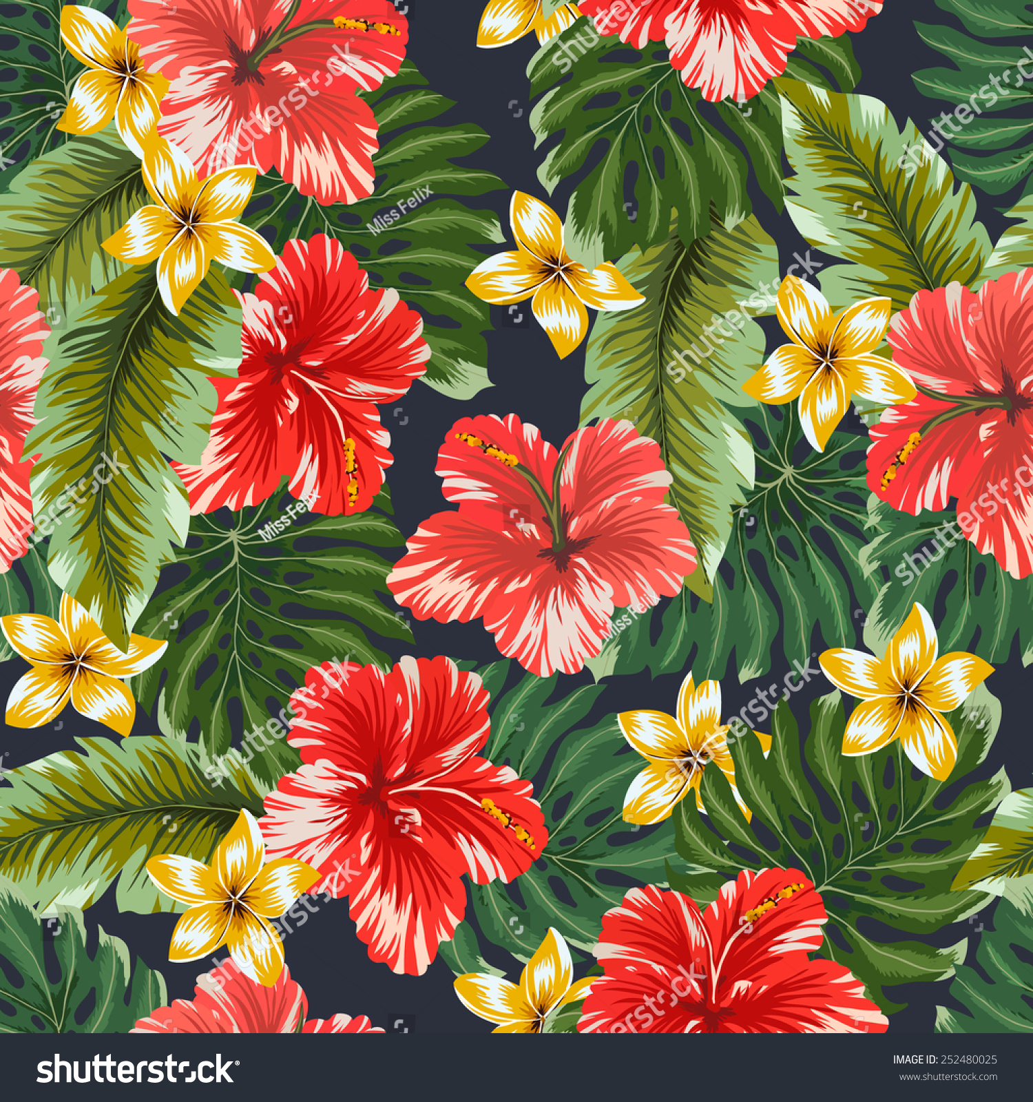 Seamless Pattern Colorful Hawaiian Flowers On Stock Vector Royalty