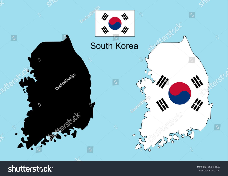 South Korea Map South Korea Flag Stock Vector 252488620 Shutterstock