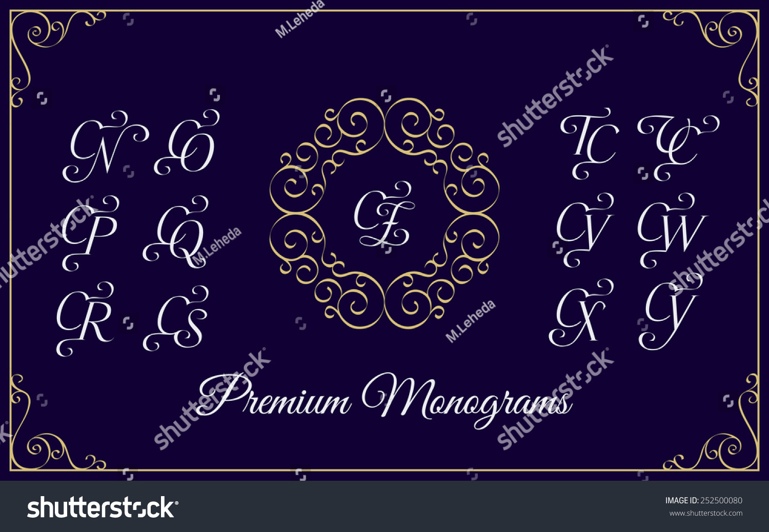 vintage monogram design template combinations capital stock vector 252500080