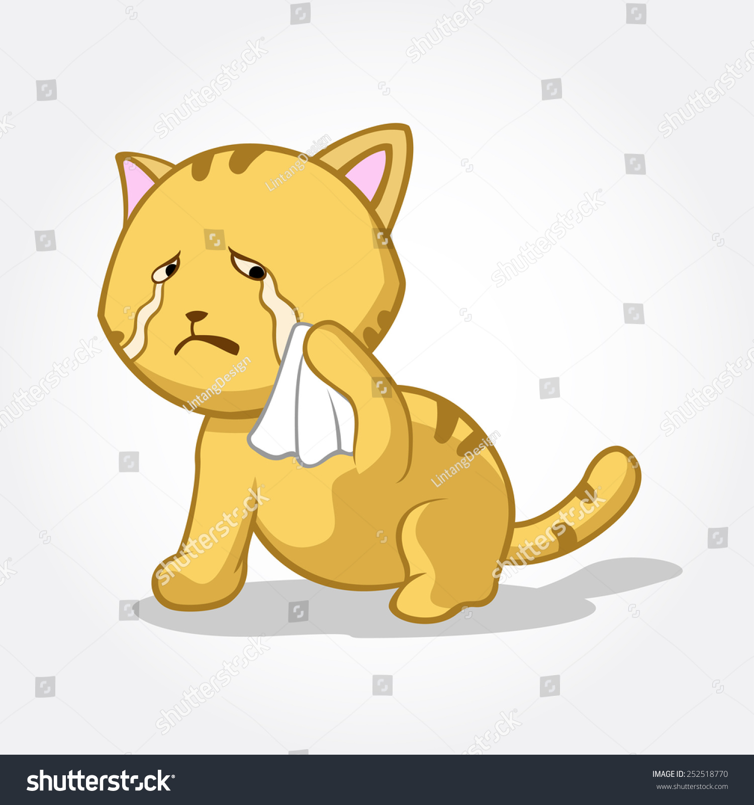 Crying Cat Cartoon This is a cat cartoon vector illustration, this cat ...