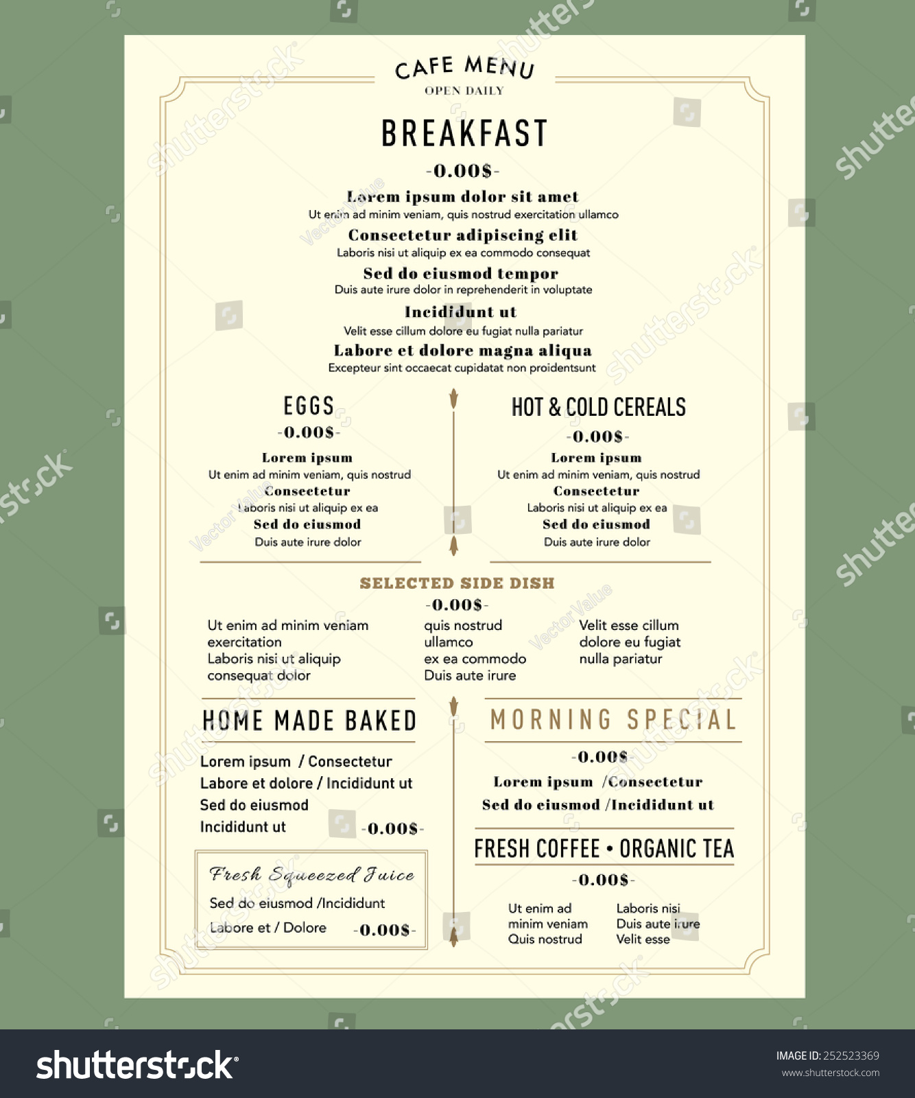Menu design breakfast restaurant cafe graphic stock vector