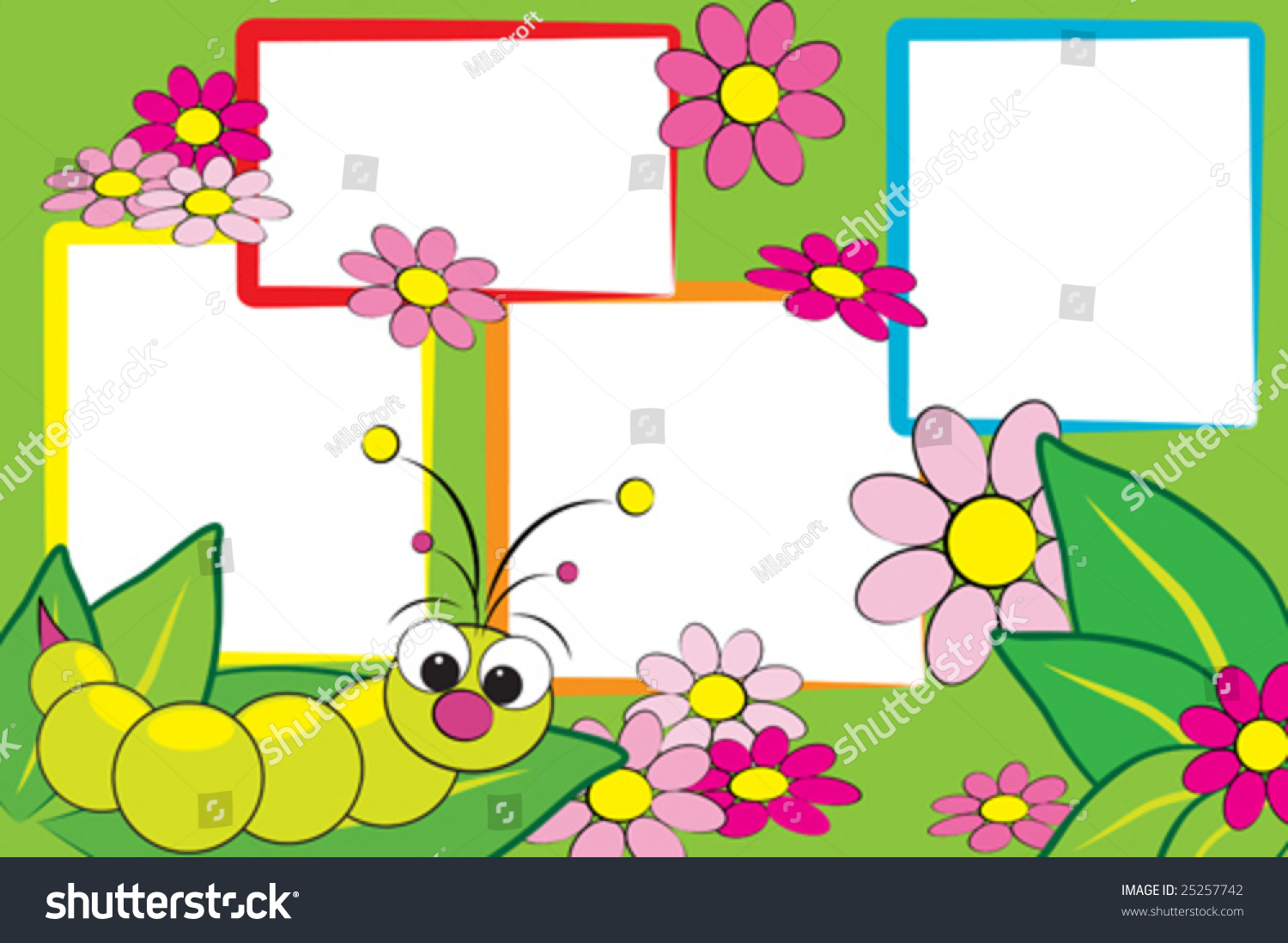 Kid Scrapbook Grub Flowers Photo Frames Stock Vector HD (Royalty ...