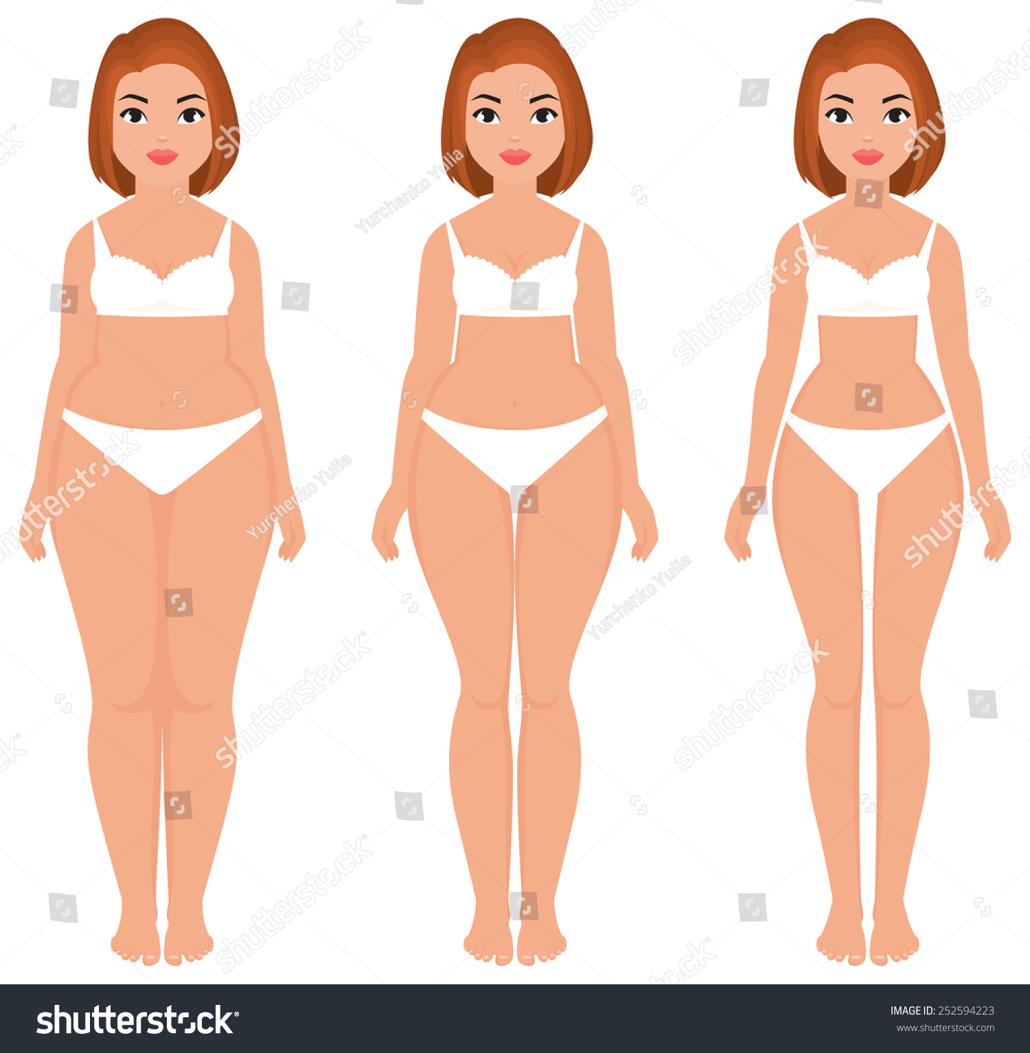 Stock Vector Cartoon Illustration Fat Slim Stock Vector