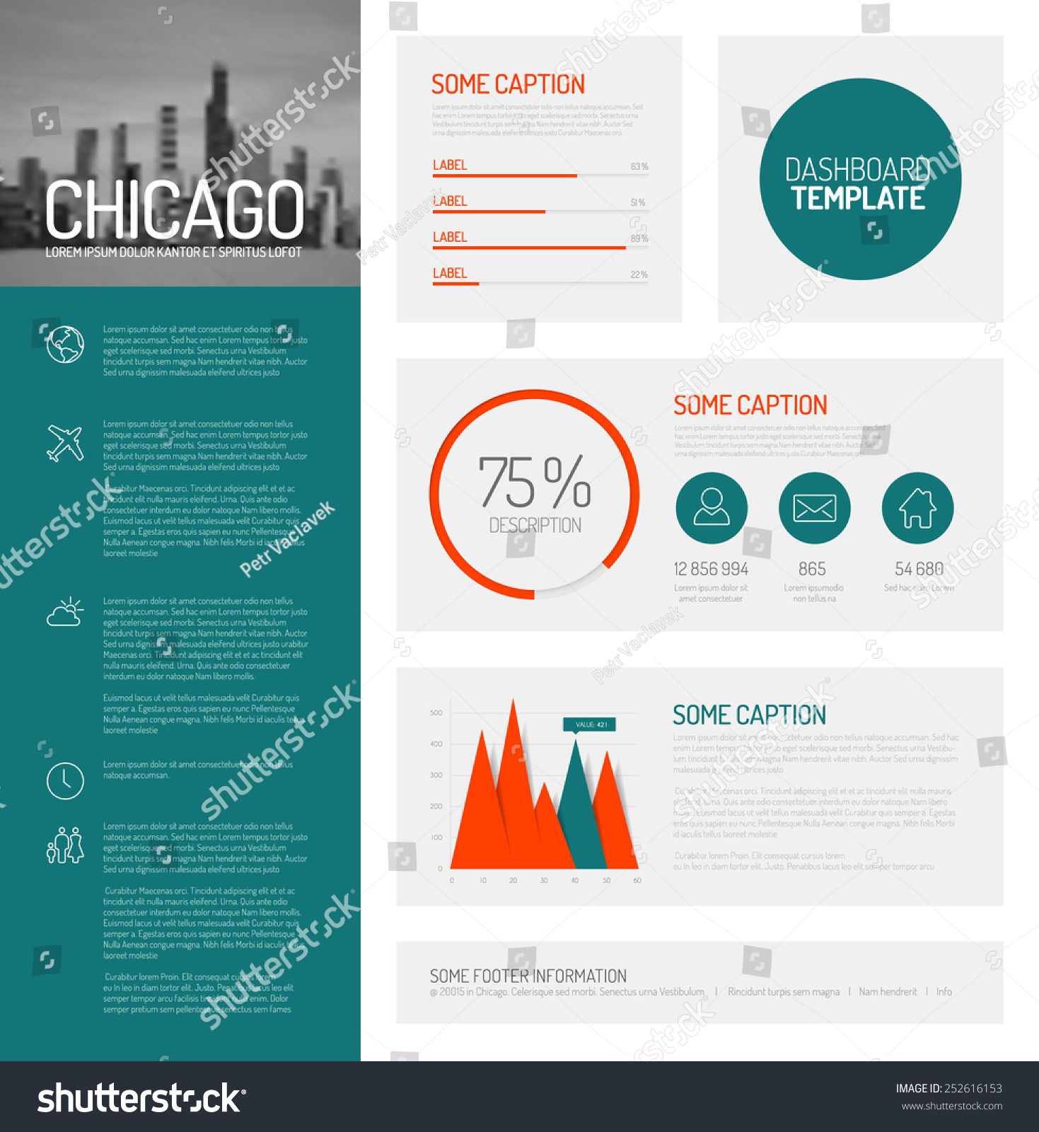 Simple Infographic Dashboard Template Flat Design Stock ...
