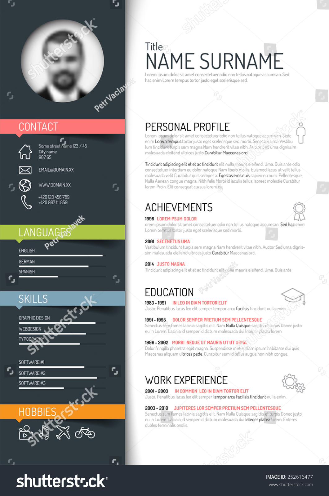 resume template with color