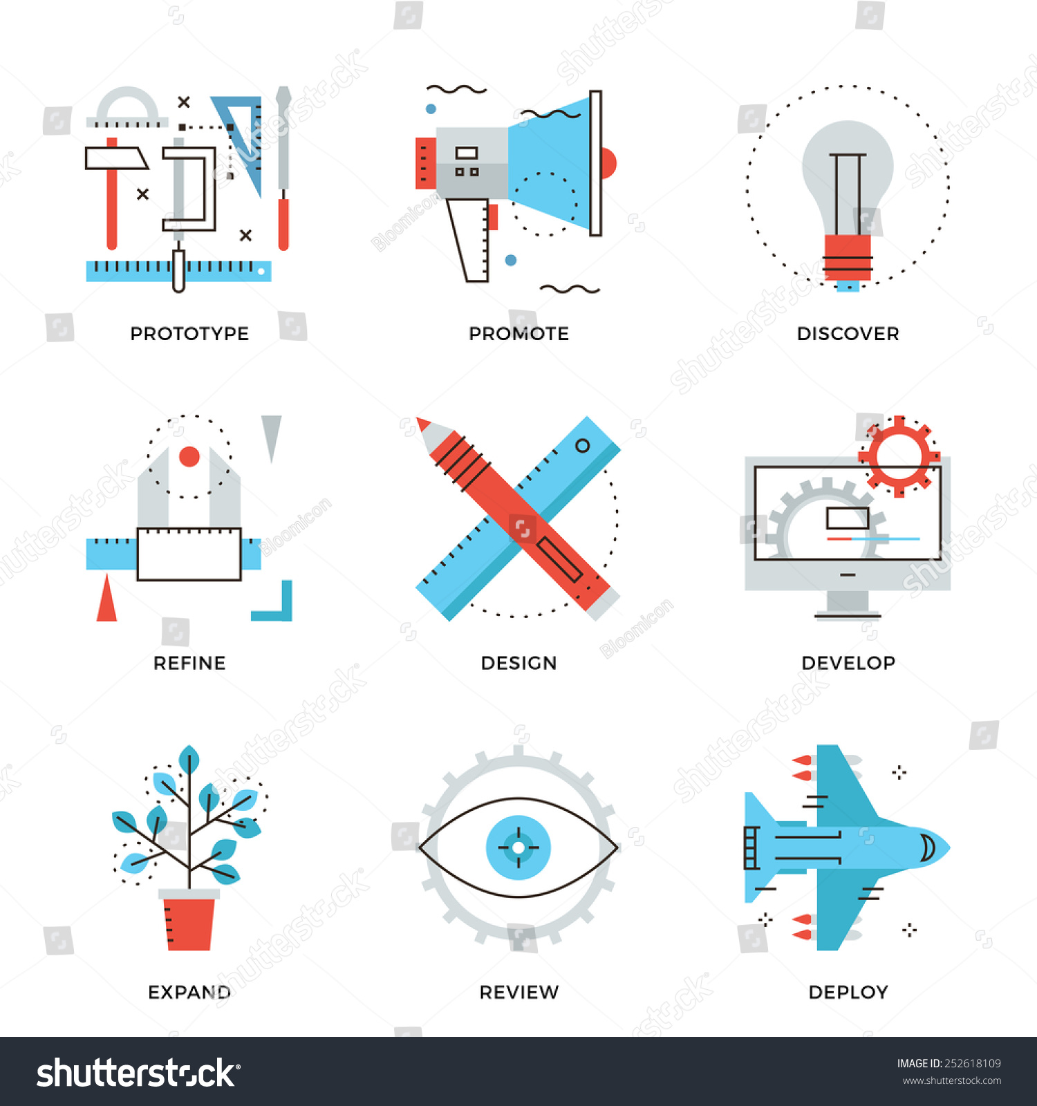 Thin line icons graphic design production stock vector for Product design prototype