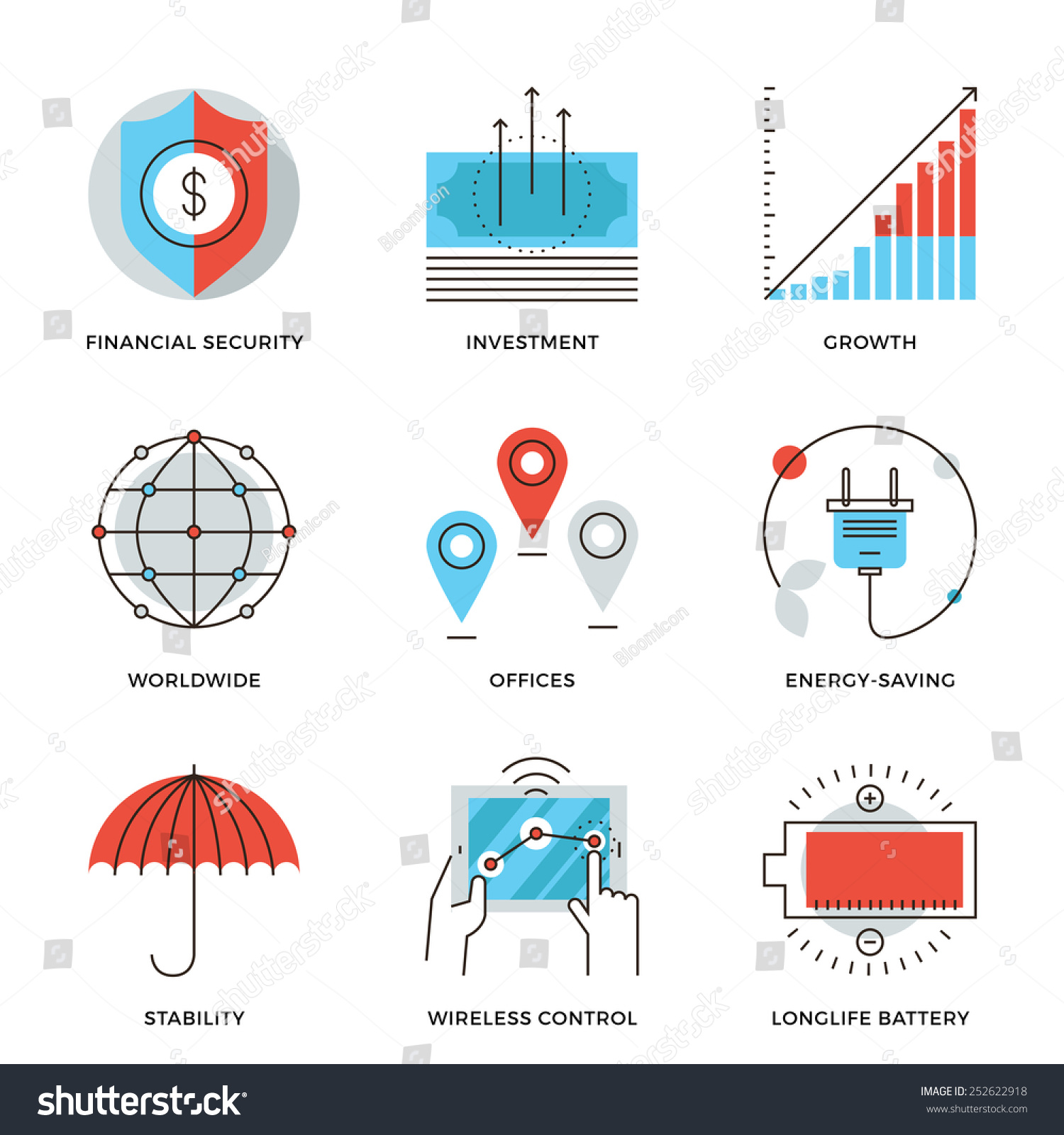 Royalty Free Thin Line Icons Of Worldwide Corporate 252622918