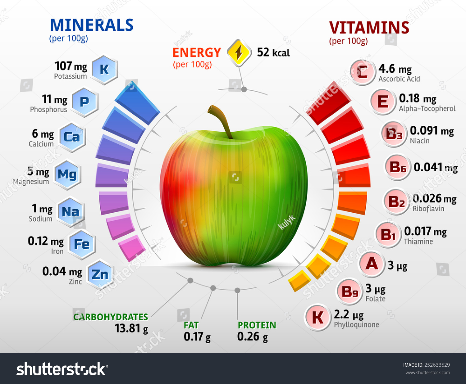 Vitamins Minerals Apple Infographics About Nutrients Stock Vector ...