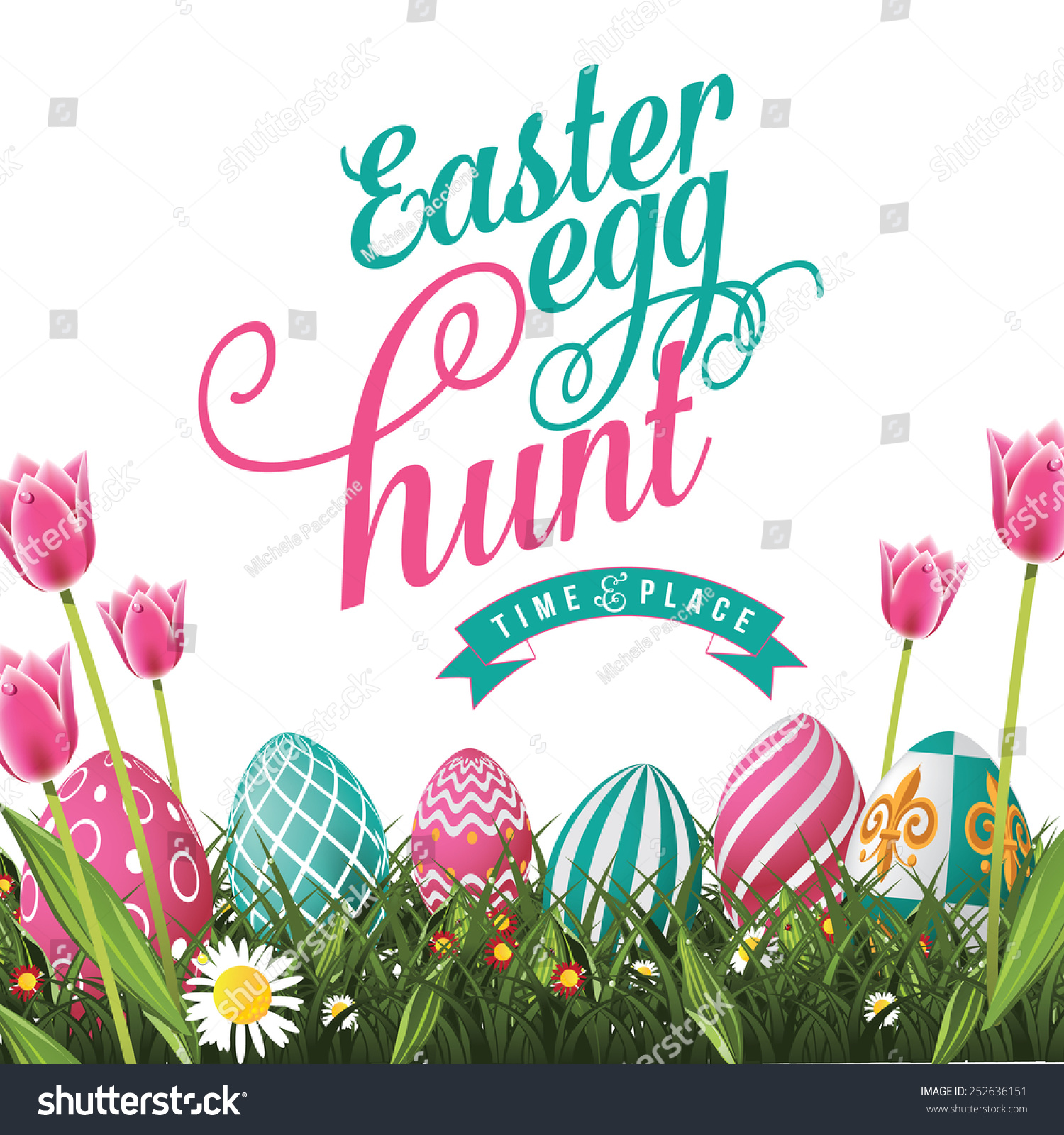 Easter Egg Hunt Isolated With White Background EPS 10 Vector Royalty Free Stock Illustration For