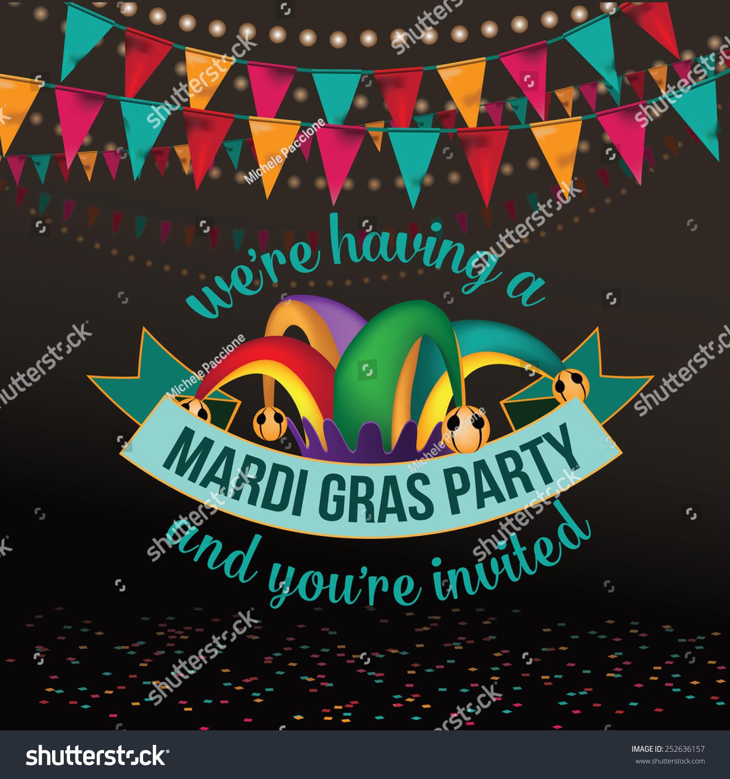 Mardi Gras Party Invitation Design Royalty Stock Illustration ...