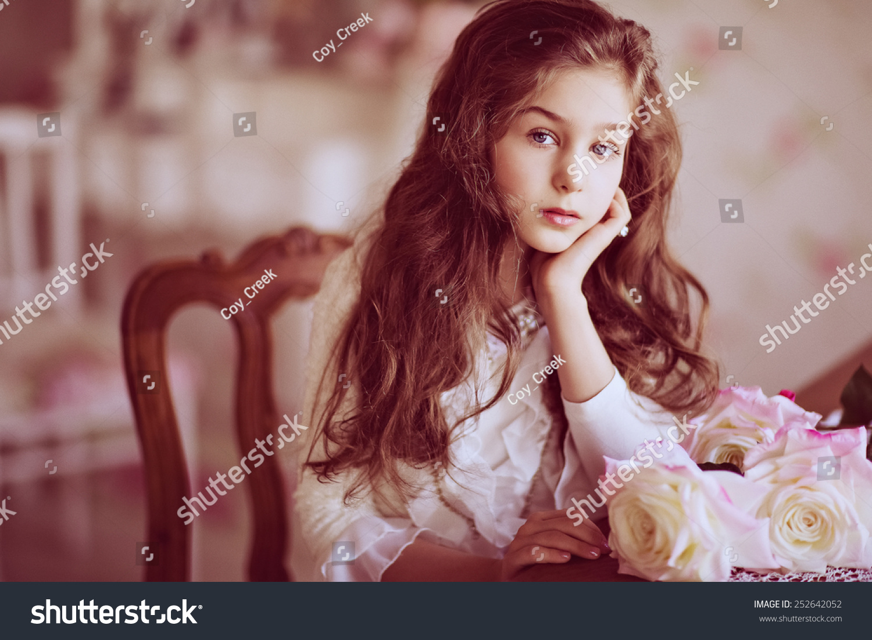 portrait cute sad girl baby gorgeous stock photo (safe to use
