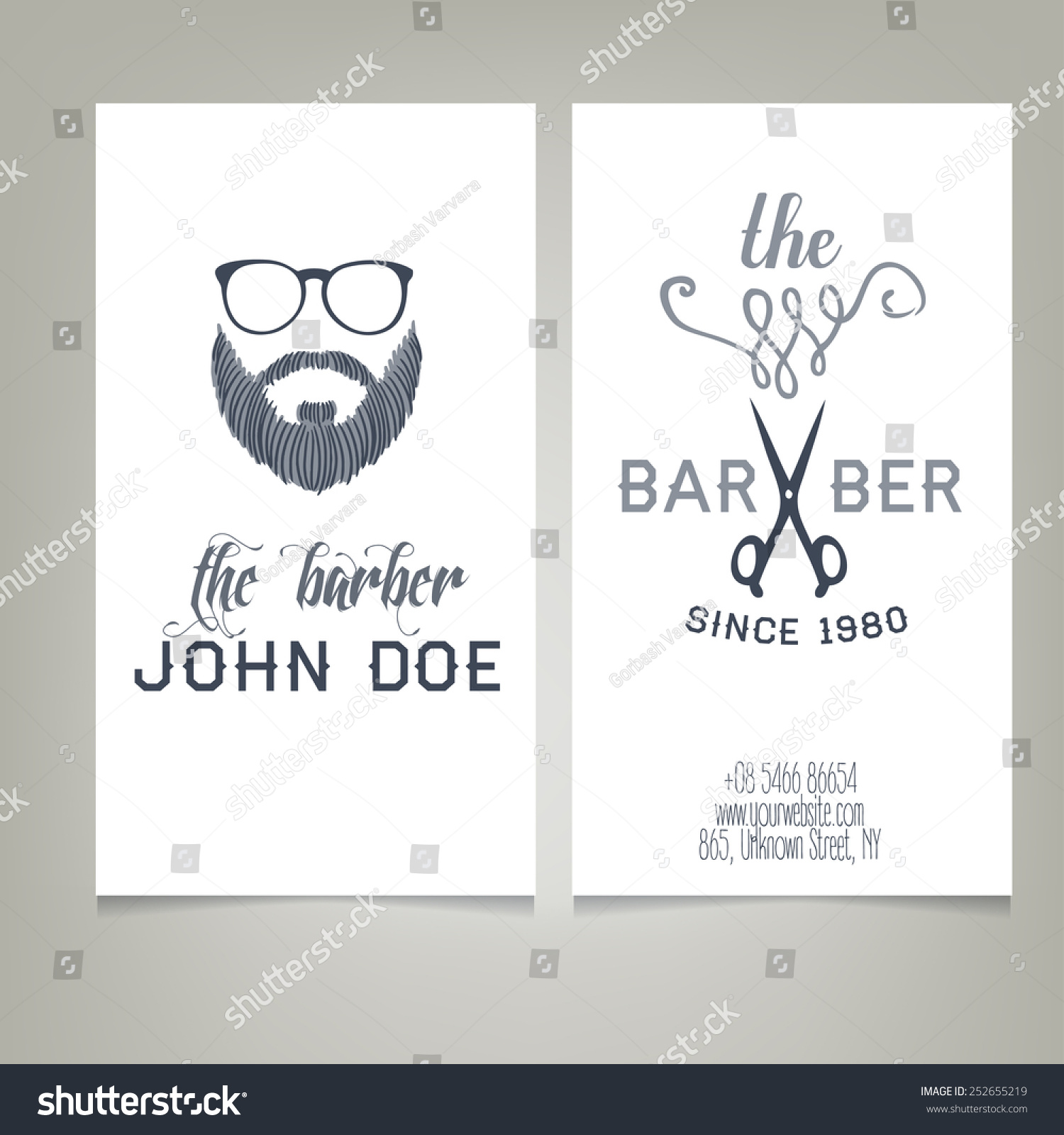 Hipster Barber Shop Business Card Design Stock Vector 252655219 ...