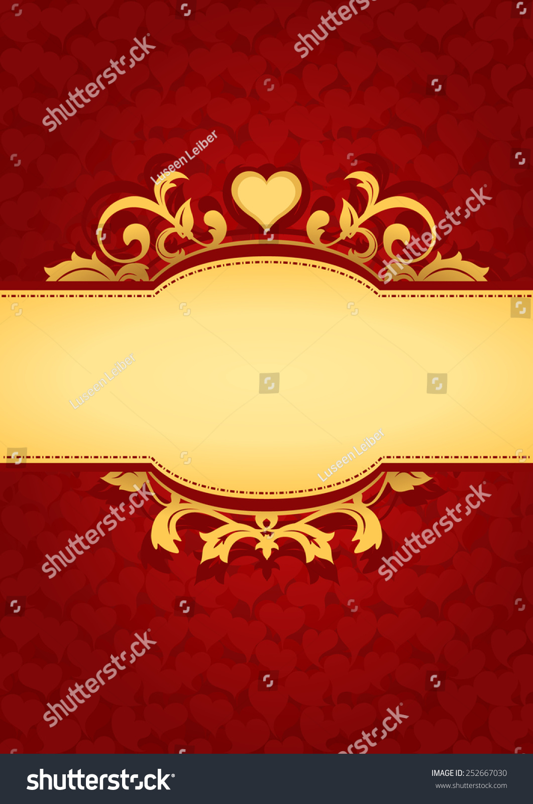 Love Hearts Banner Background Red Valentines Stock Vector Royalty