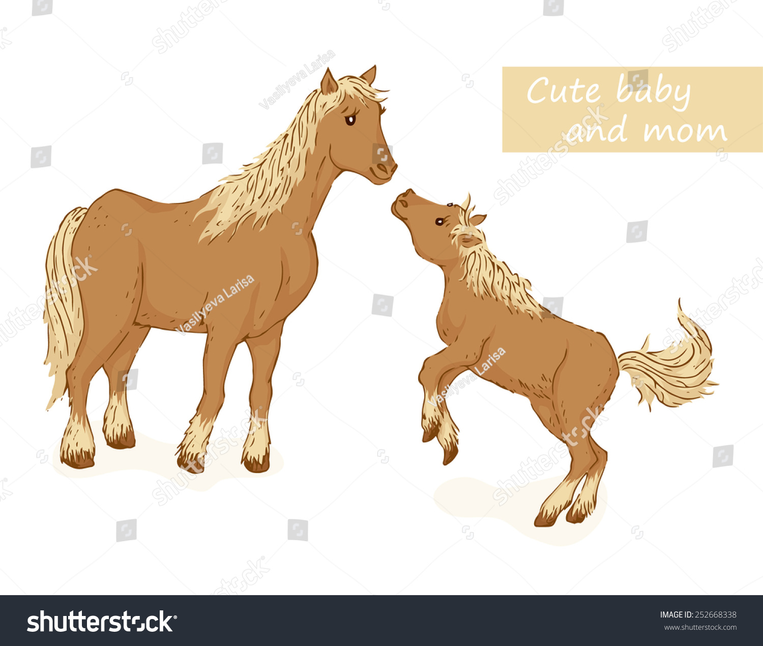 Vector De Stock Libre De Regalias Sobre Horse Foal Cute Animals Family Mom252668338