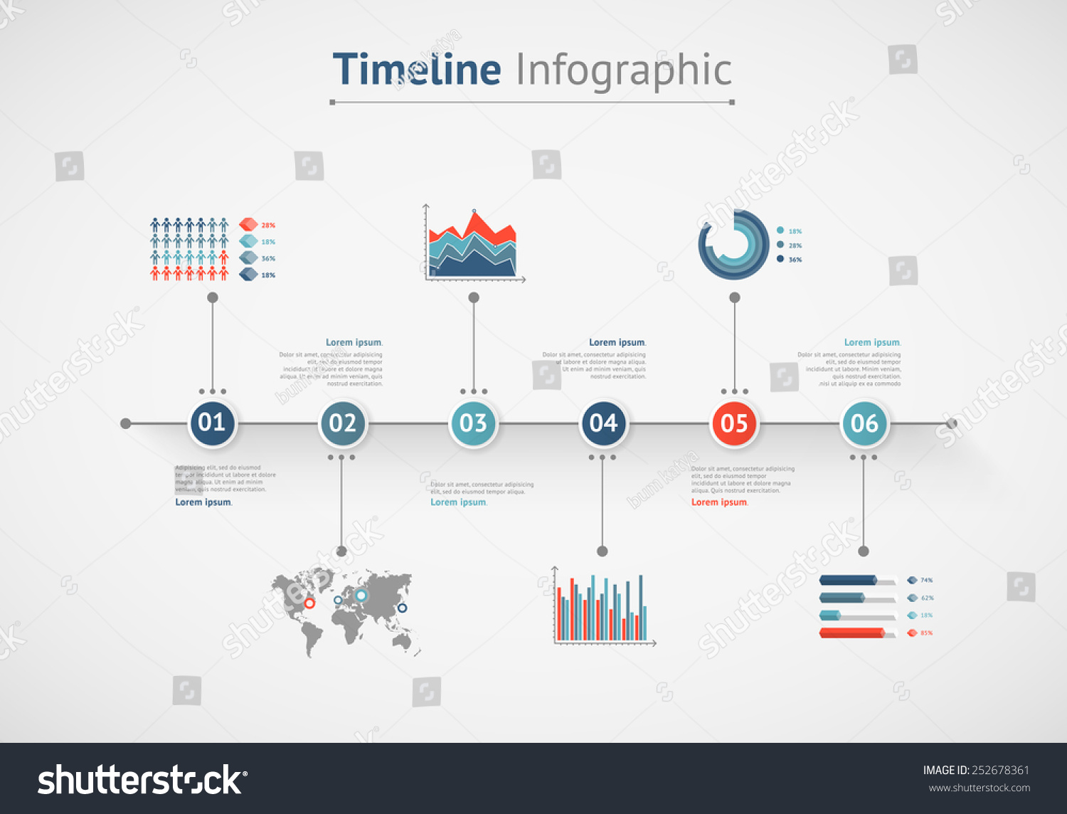 Timeline vector infographic world map vector de stock252678361 timeline vector infographic world map gumiabroncs Images