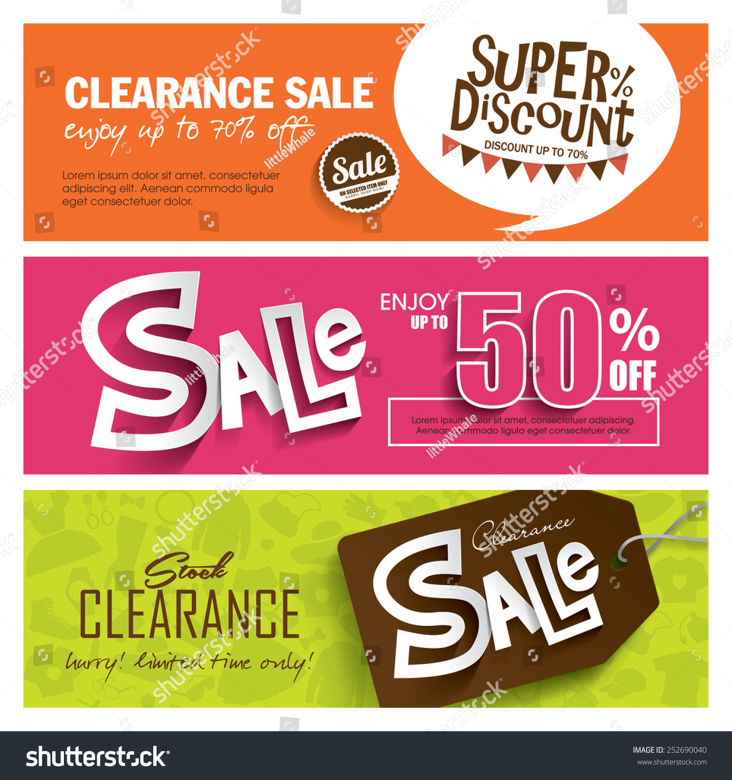 Sale Banners Design Stock Vector 252690040 - Shutterstock