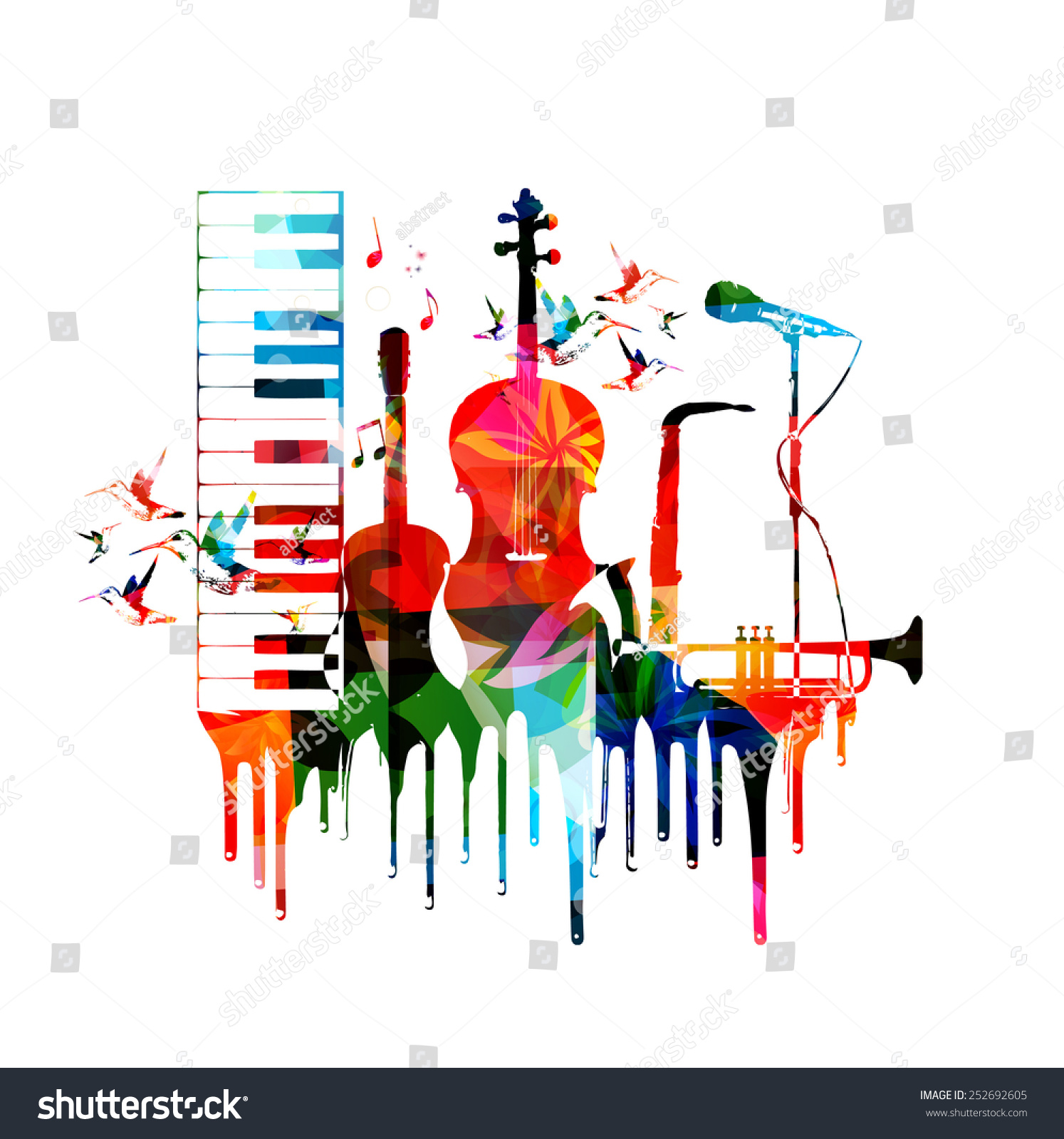 Colorful Musical Instruments Design Stock Vector 252692605 ... Classical Music Background Designs