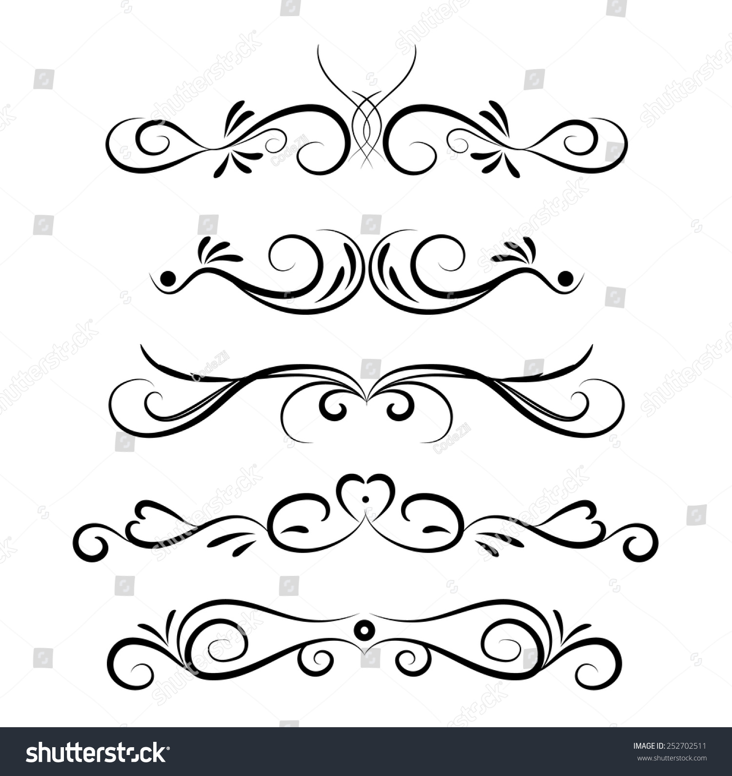 Line Art Card Design : Set of page decoration line drawing design elements