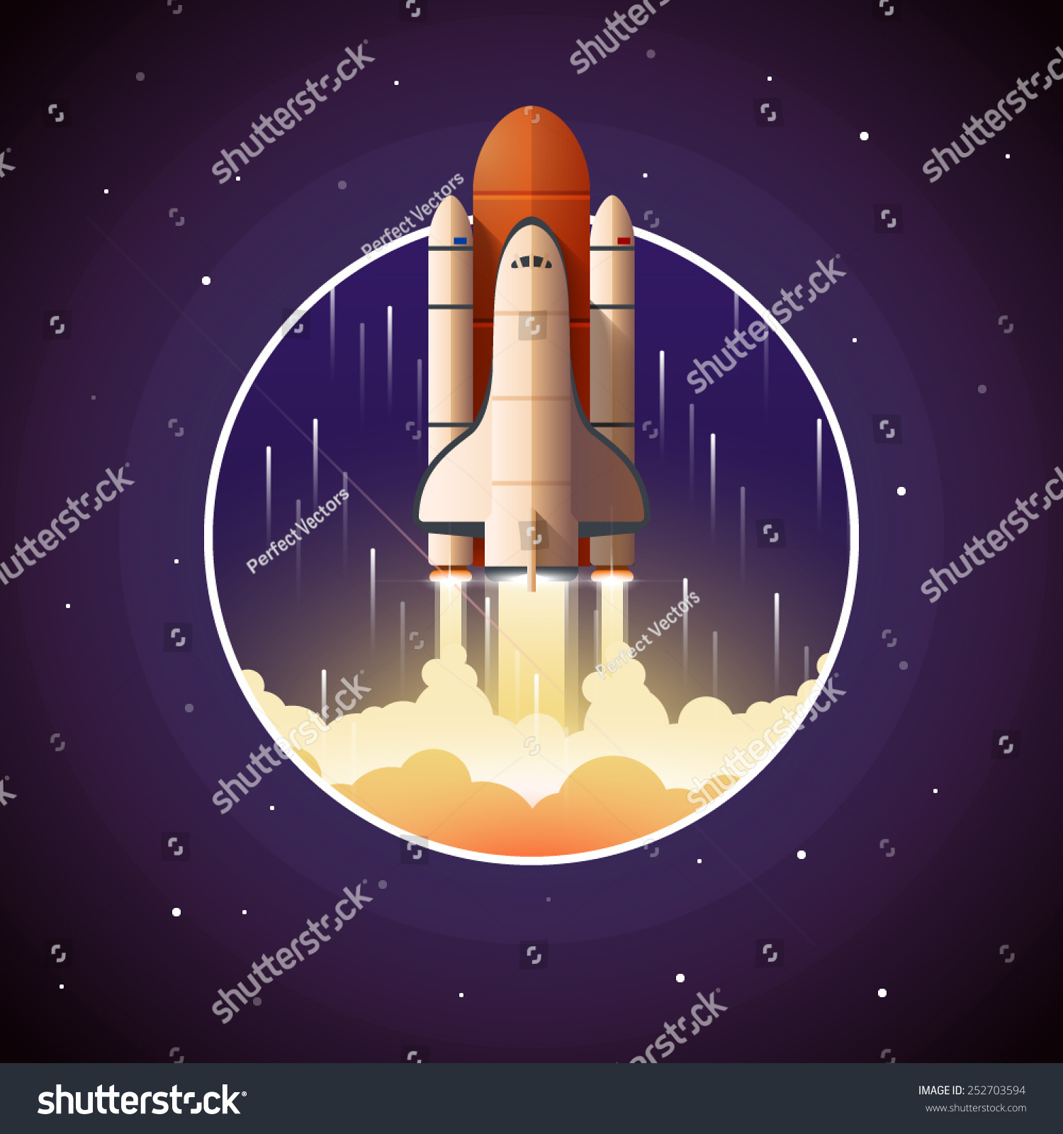 Space Shuttle Launch Vector Illustration Spaceship Stock ...