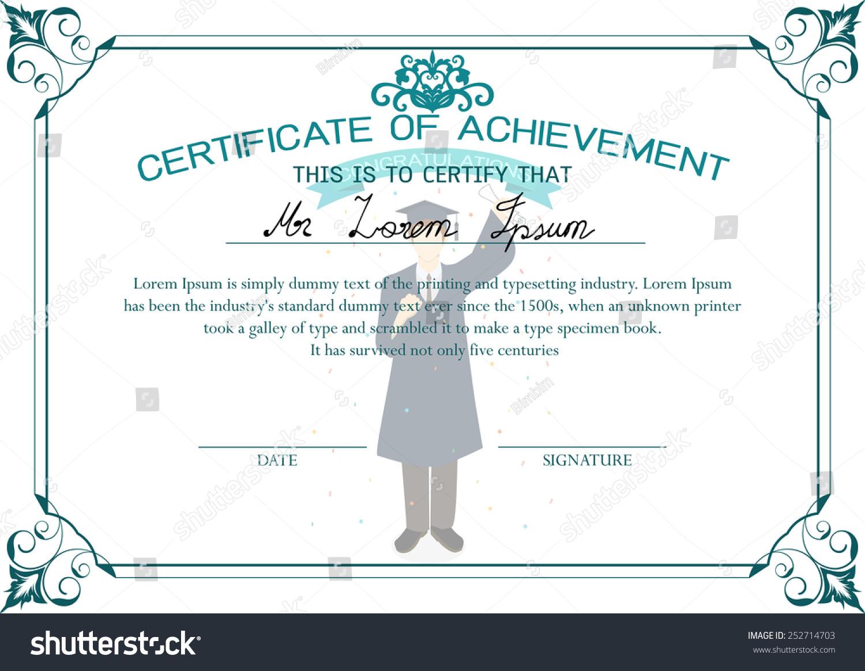 Certificate Design Template Certificate Achievement Graduate Stock
