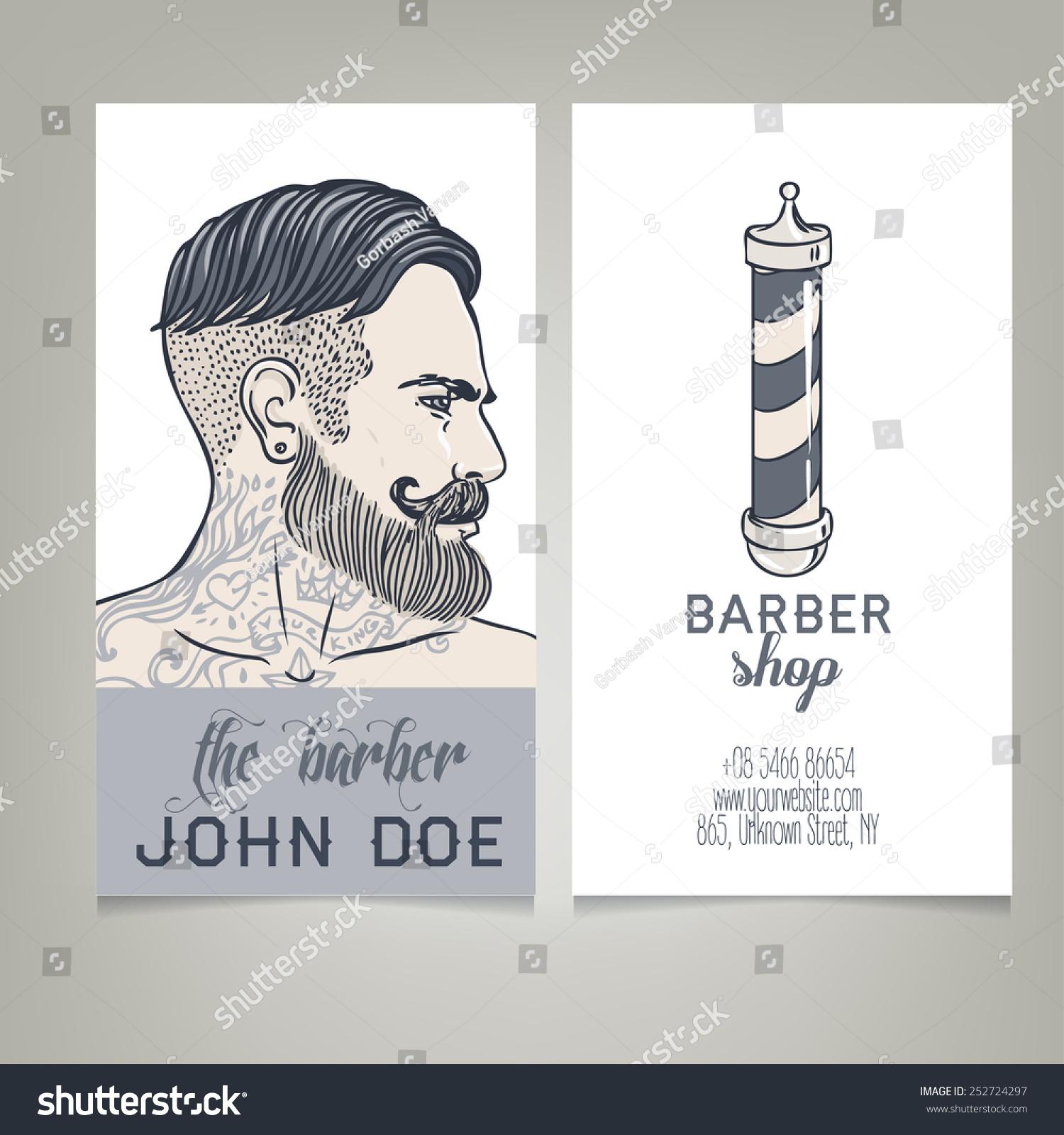 Hipster Barber Shop Business Card Design Stock Vector 252724297 ...