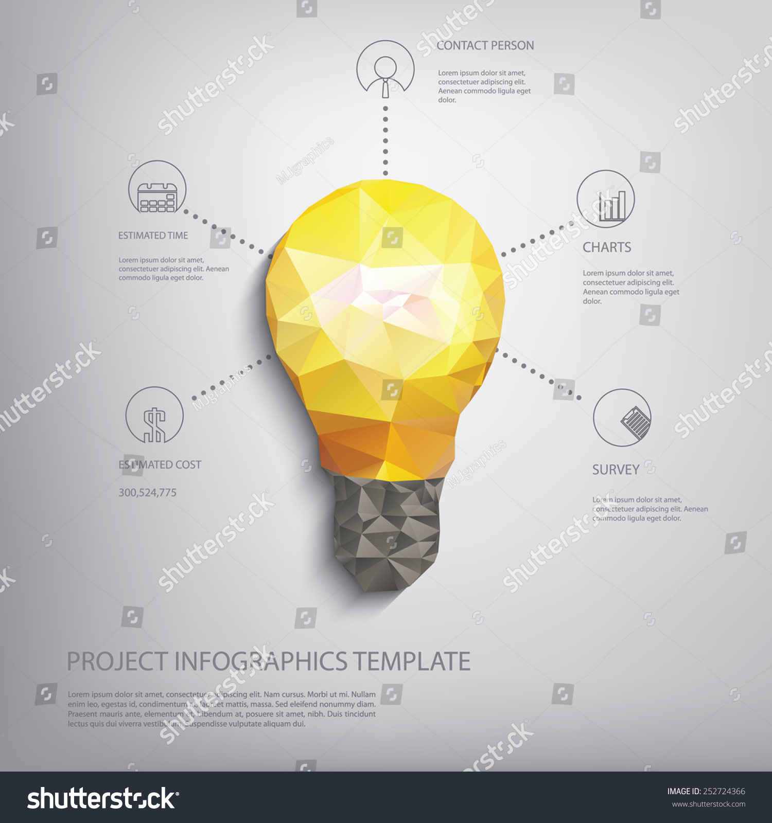 Colorful Low Polygonal Light Bulb Concept Stock Vector Royalty Free