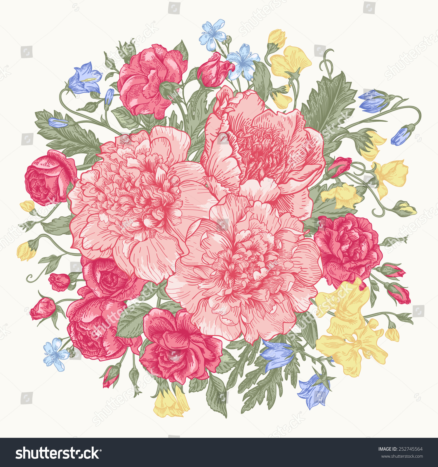 Vintage Background Round Bouquet Summer Flowers Stock Vector