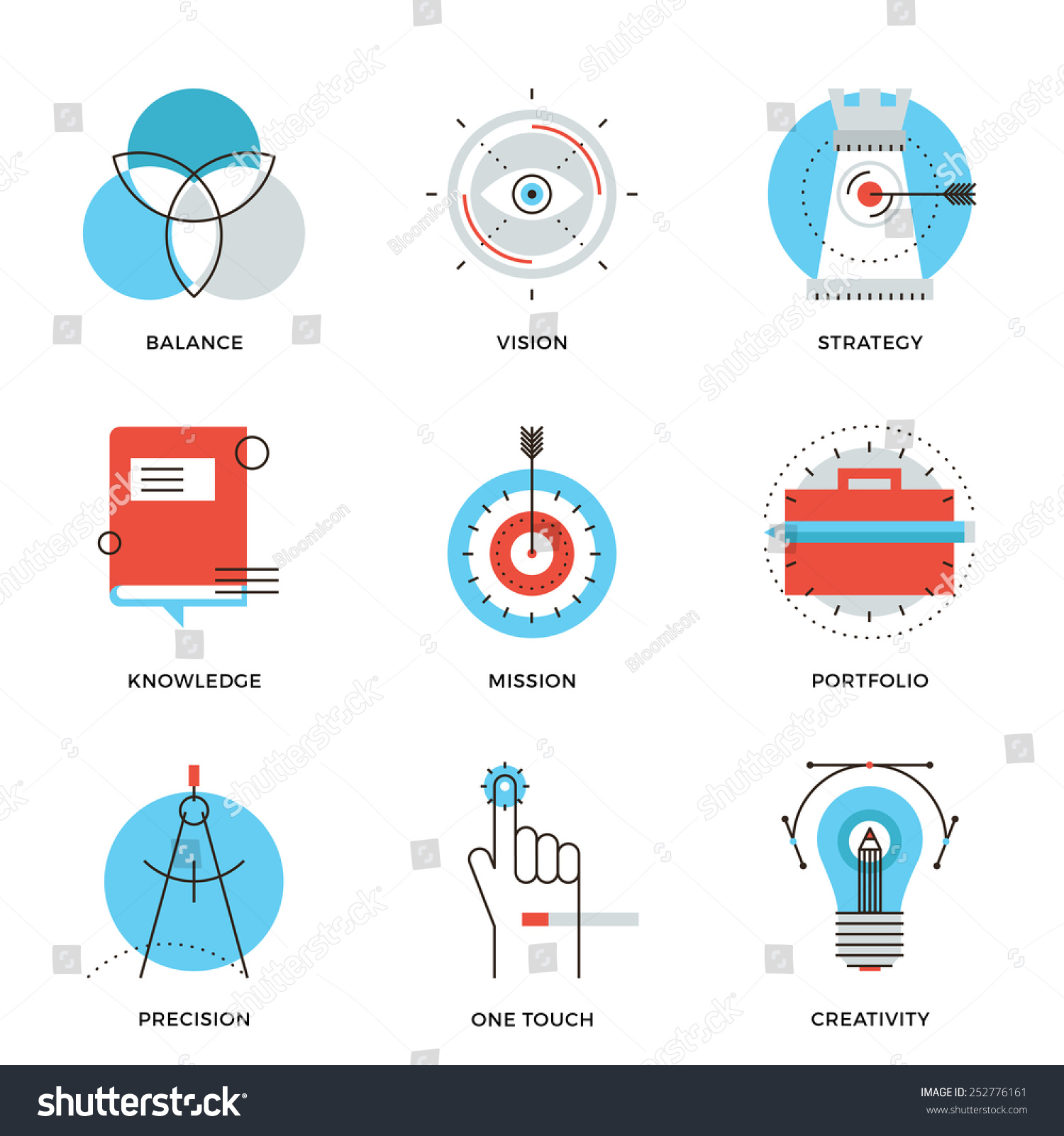 Thin line icons creative design process stock vector for Strategic design agency