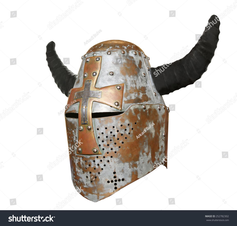 Old Knight Helmet Horns Protection Battle Stock Photo (Edit