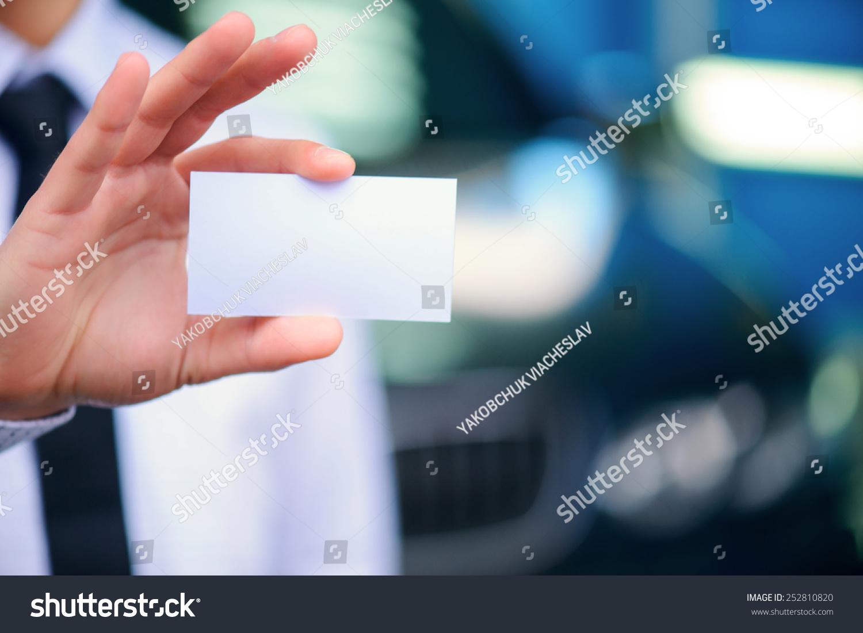 Man Business Card Closeup Copy Space Stock Photo 252810820 ...