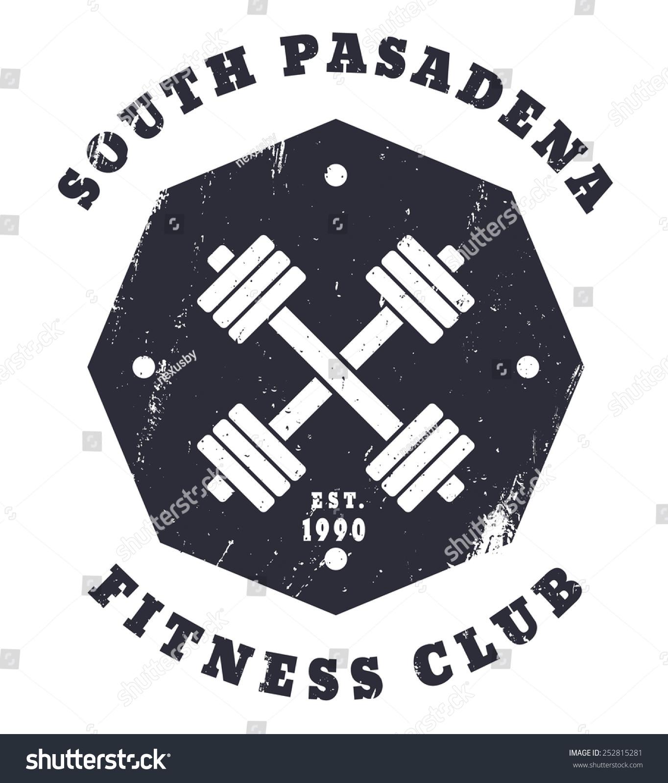 Shirt design easy - South Pasadena Fitness Club T Shirt Design Vector Illustration Eps10 Easy To Edit