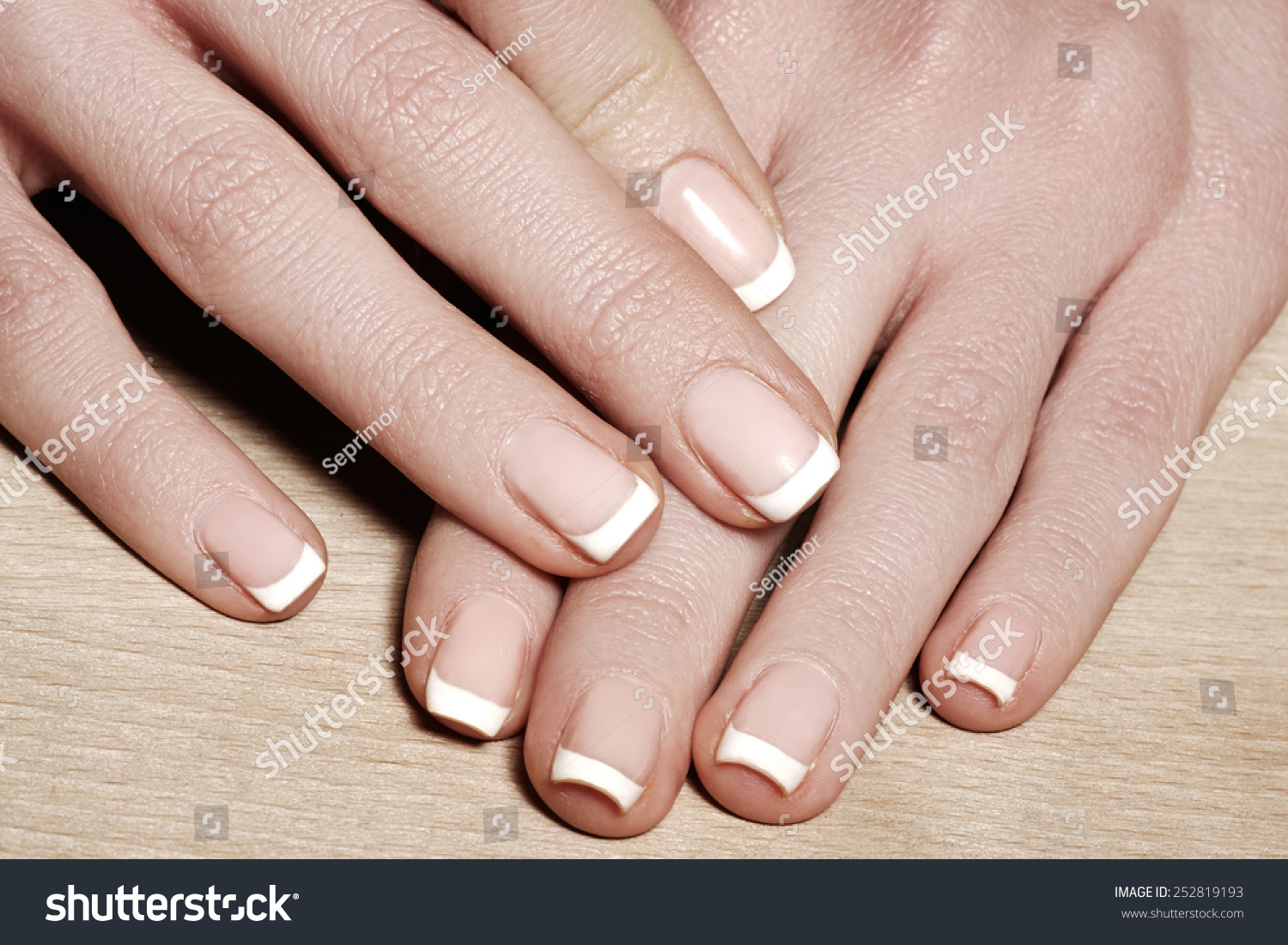 Beautiful Womans Nails Perfect French Manicure Stock Photo (Royalty ...